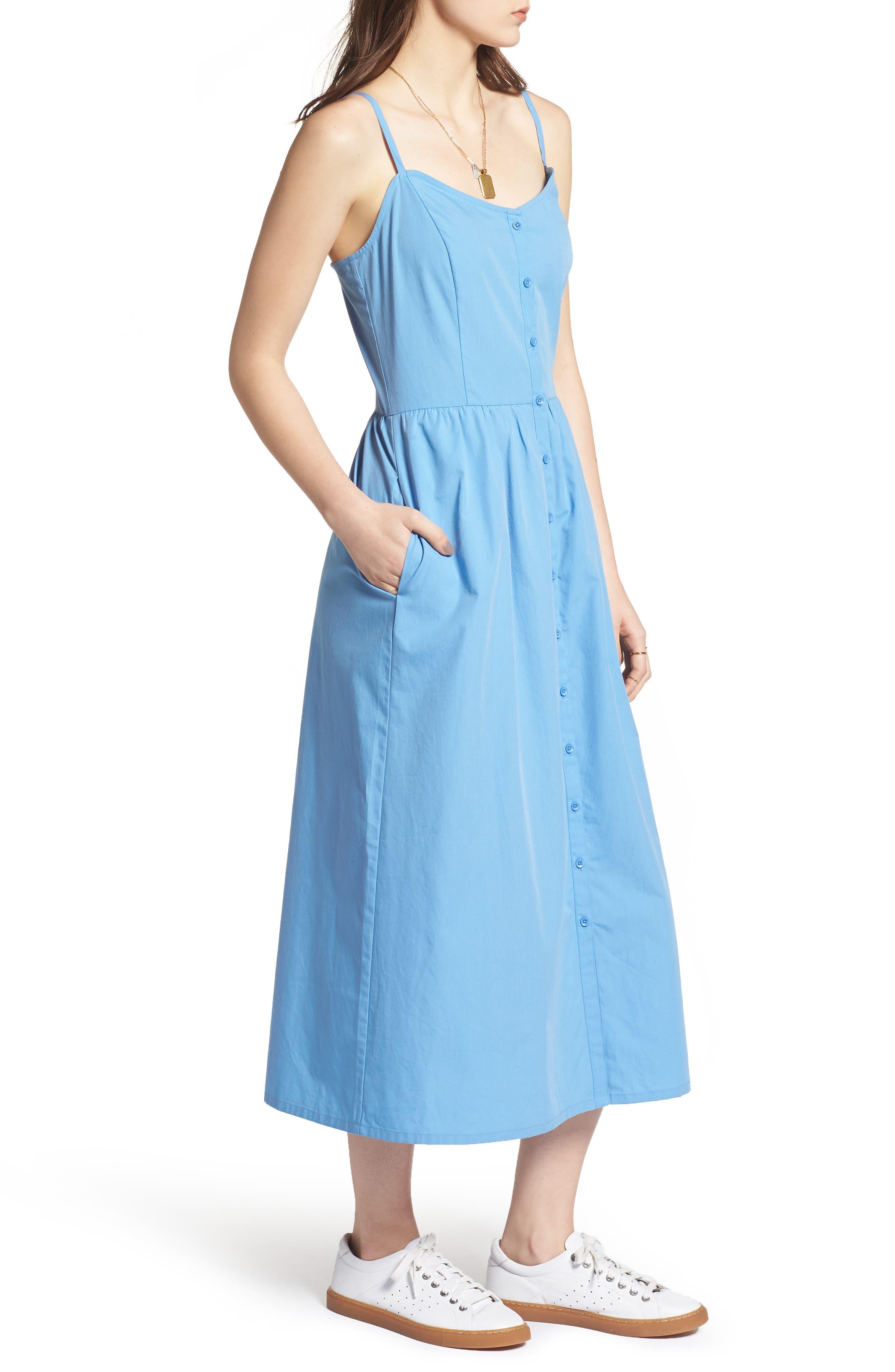 Button Front Midi Dress,                             Alternate thumbnail 6, color,