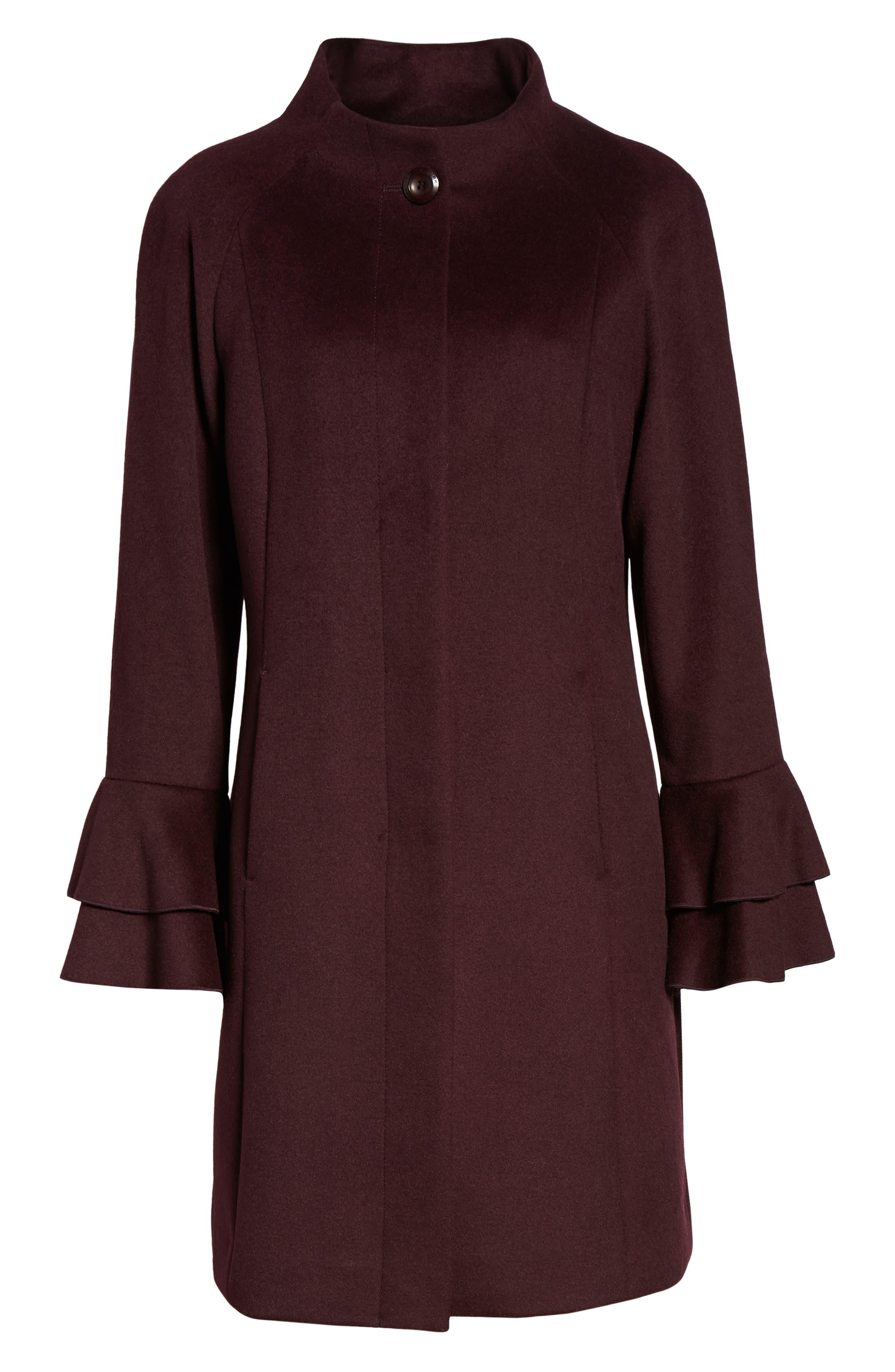 Sara Ruffle Cuff Wool Blend Coat,                             Alternate thumbnail 6, color,                             WINE
