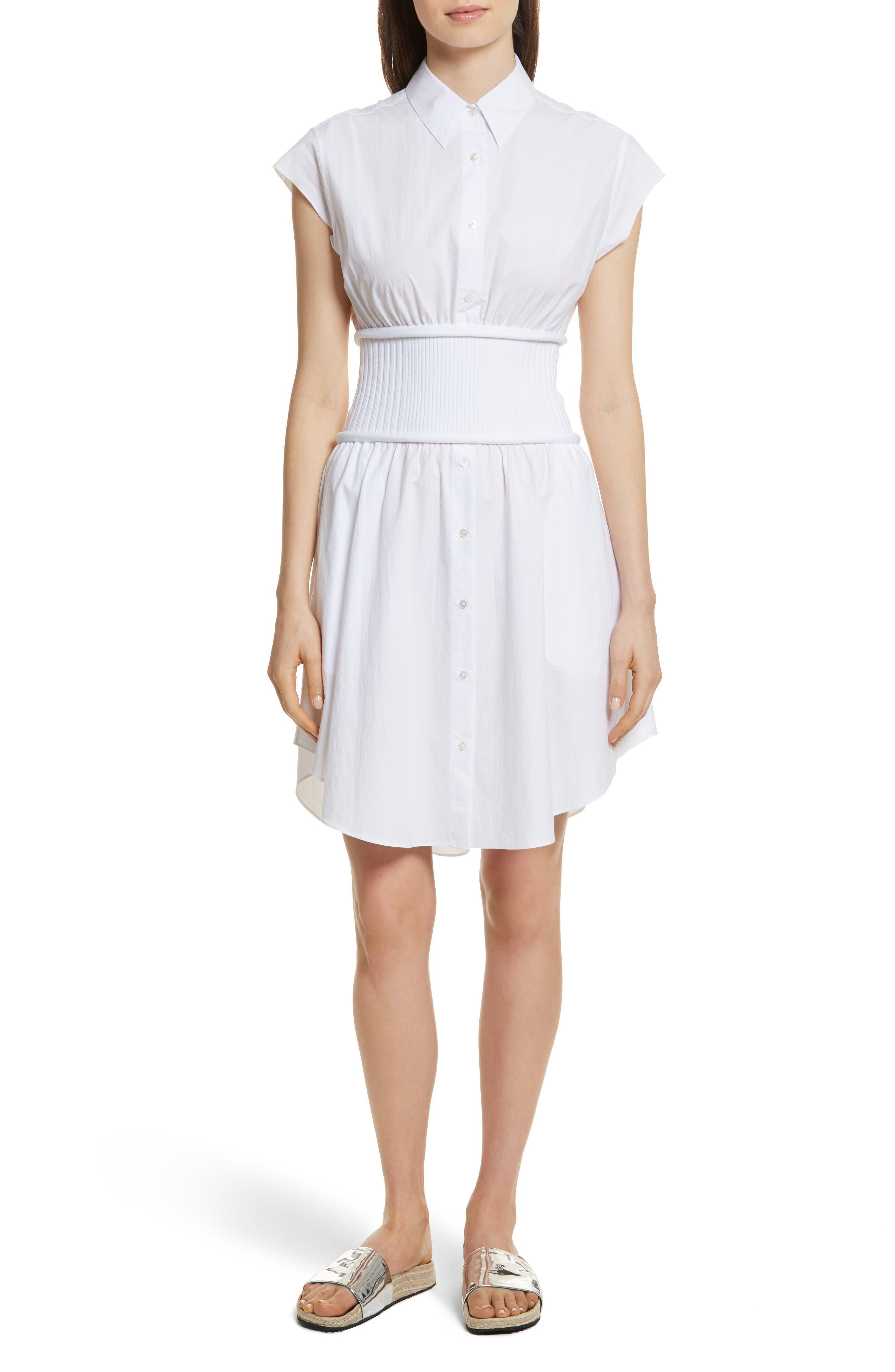 Cotton Poplin Shirtdress,                             Main thumbnail 1, color,                             100