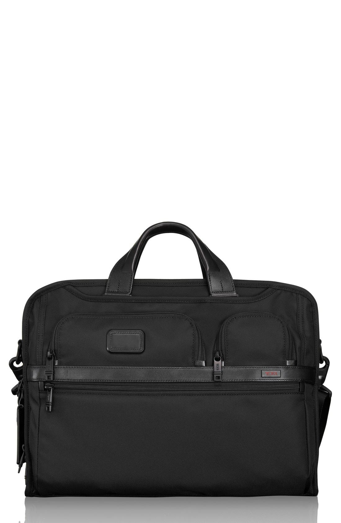 Alpha 2 Laptop Briefcase with Tumi ID Lock Pocket,                             Main thumbnail 1, color,                             BLACK