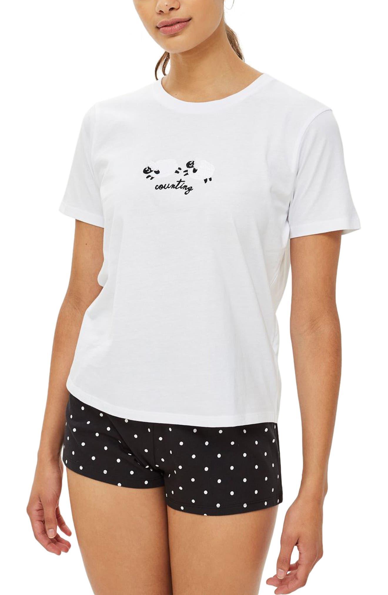 Counting Sheep Pajamas,                             Main thumbnail 1, color,                             WHITE MULTI