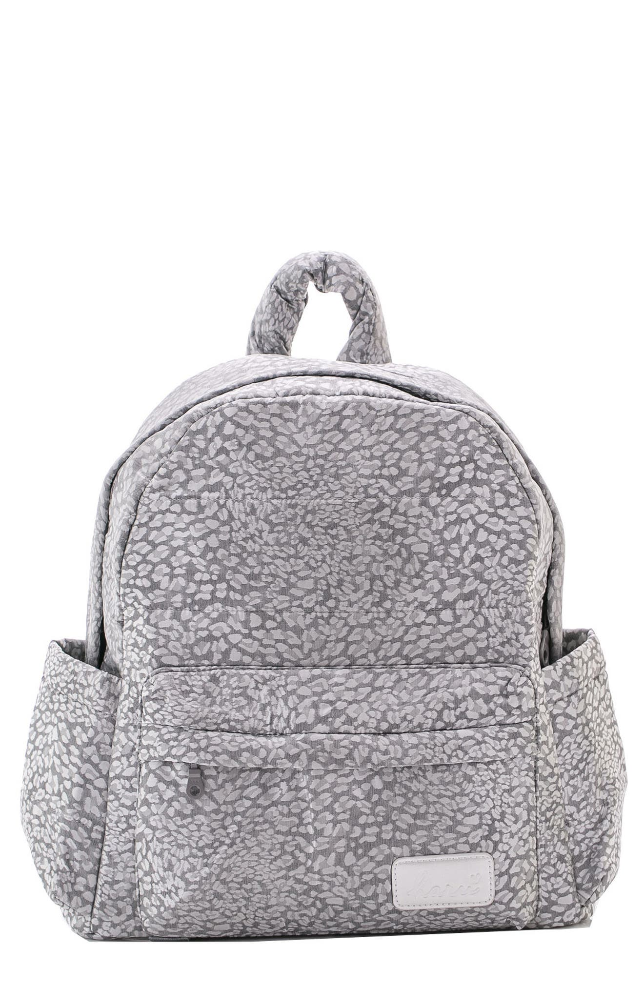 Print Water Repellent Diaper Backpack,                             Main thumbnail 1, color,                             SILVER LEOPARD