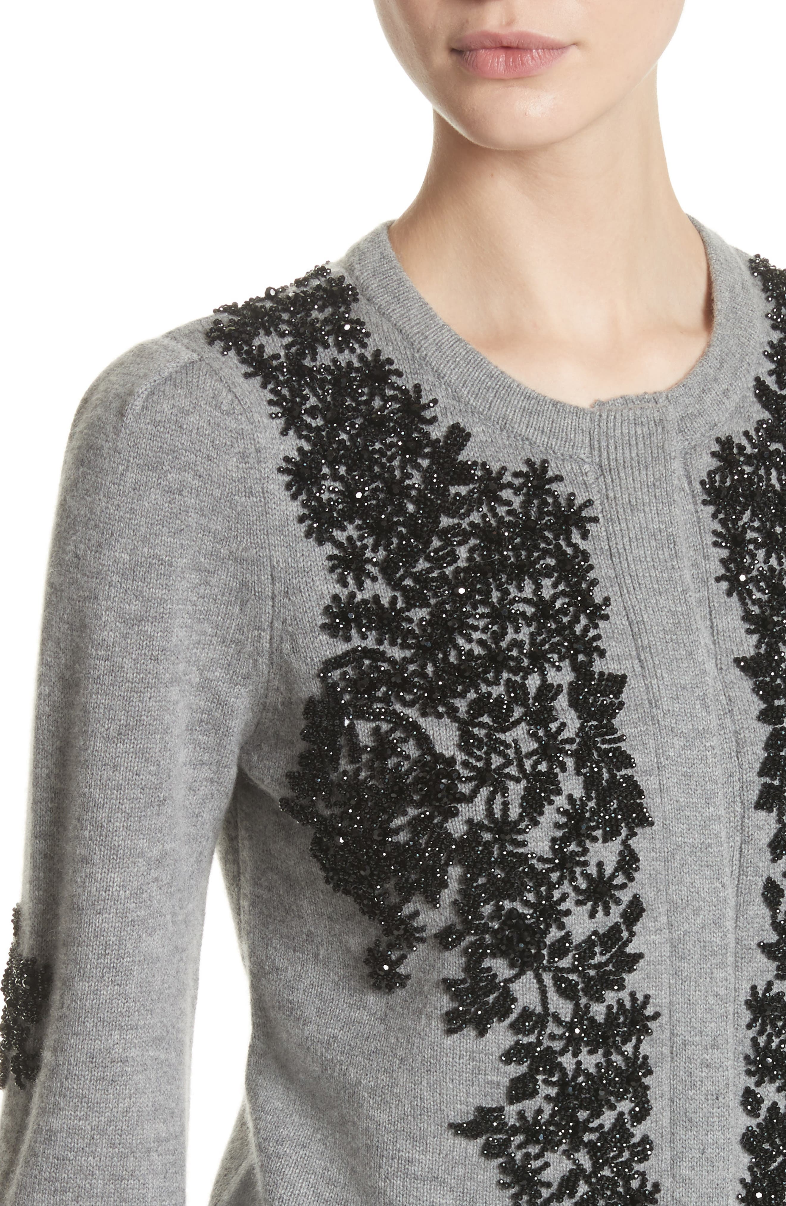 Beaded Wool & Cashmere Sweater,                             Alternate thumbnail 4, color,                             020