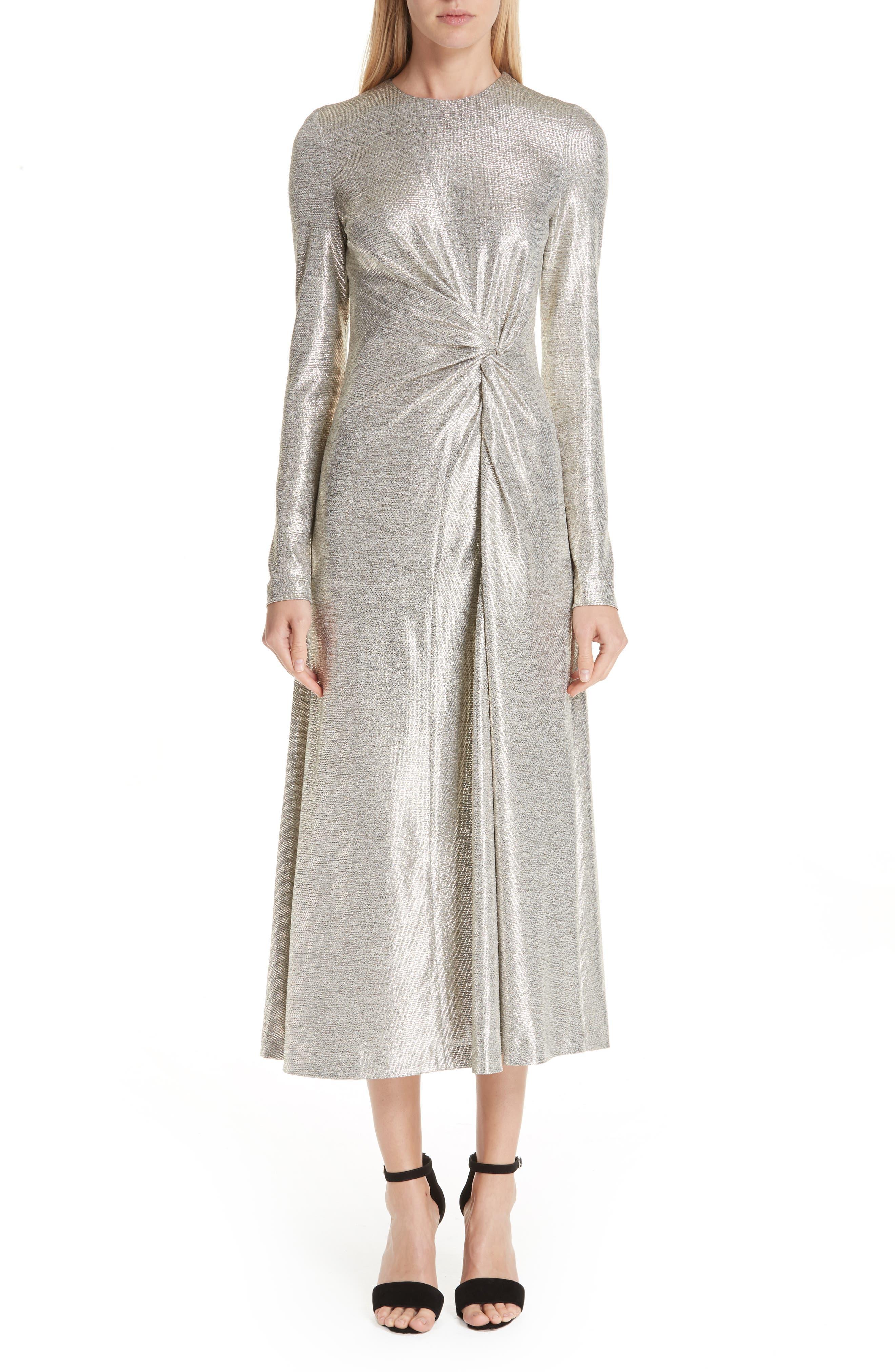 Twist Detail Metallic Dress, Main, color, PLATINUM