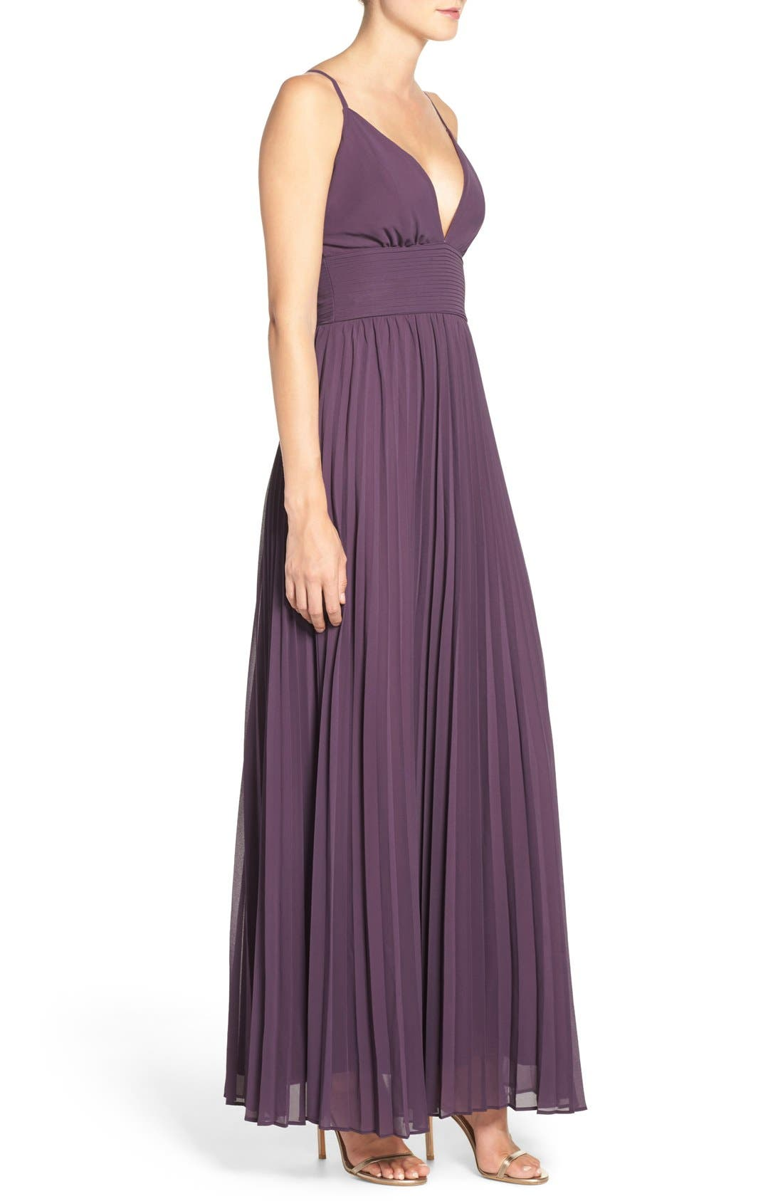 Plunging V-Neck Pleat Georgette Gown,                             Alternate thumbnail 41, color,