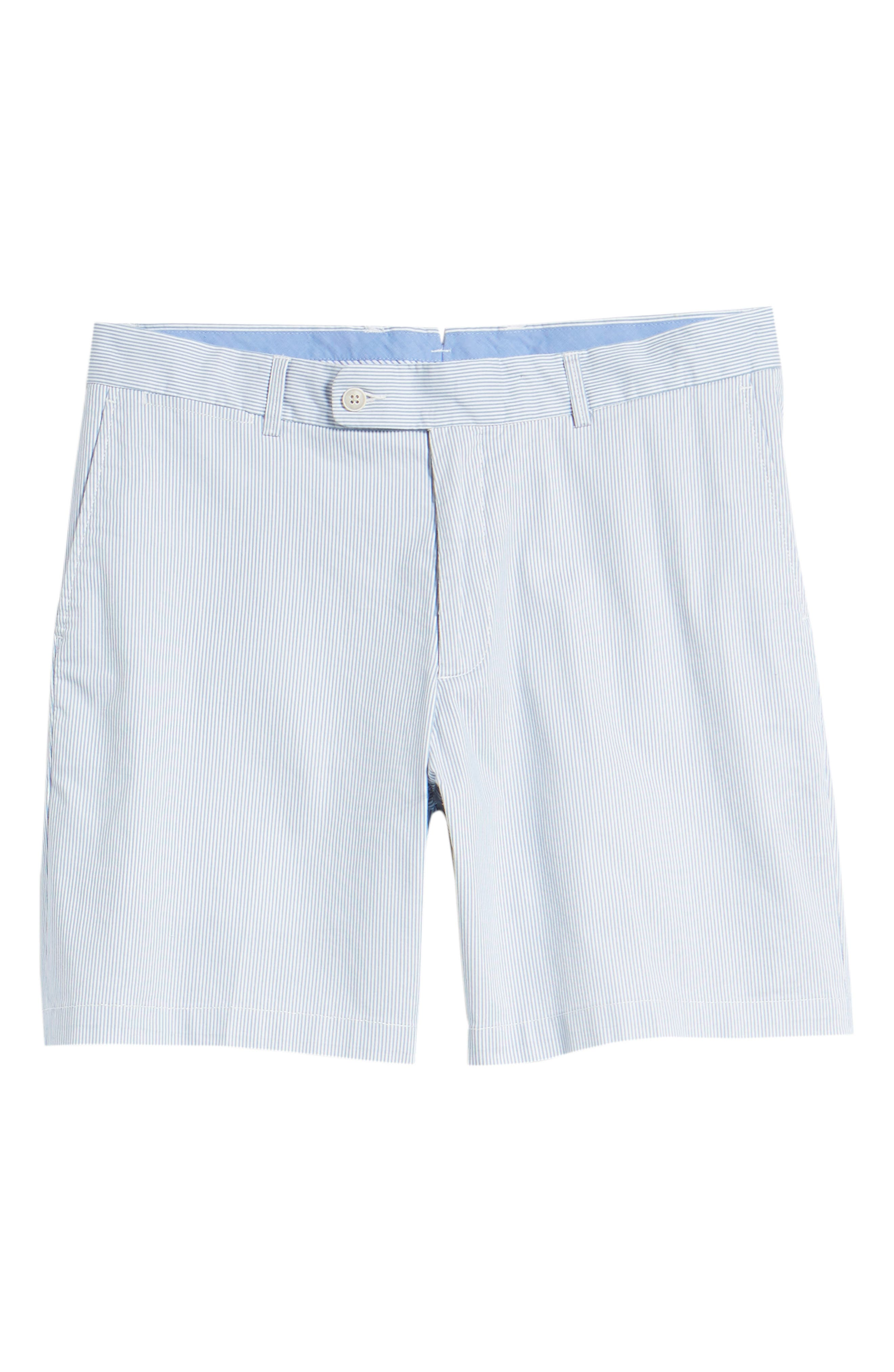 Summer Pinstripe Flat Front Shorts,                             Alternate thumbnail 6, color,                             439