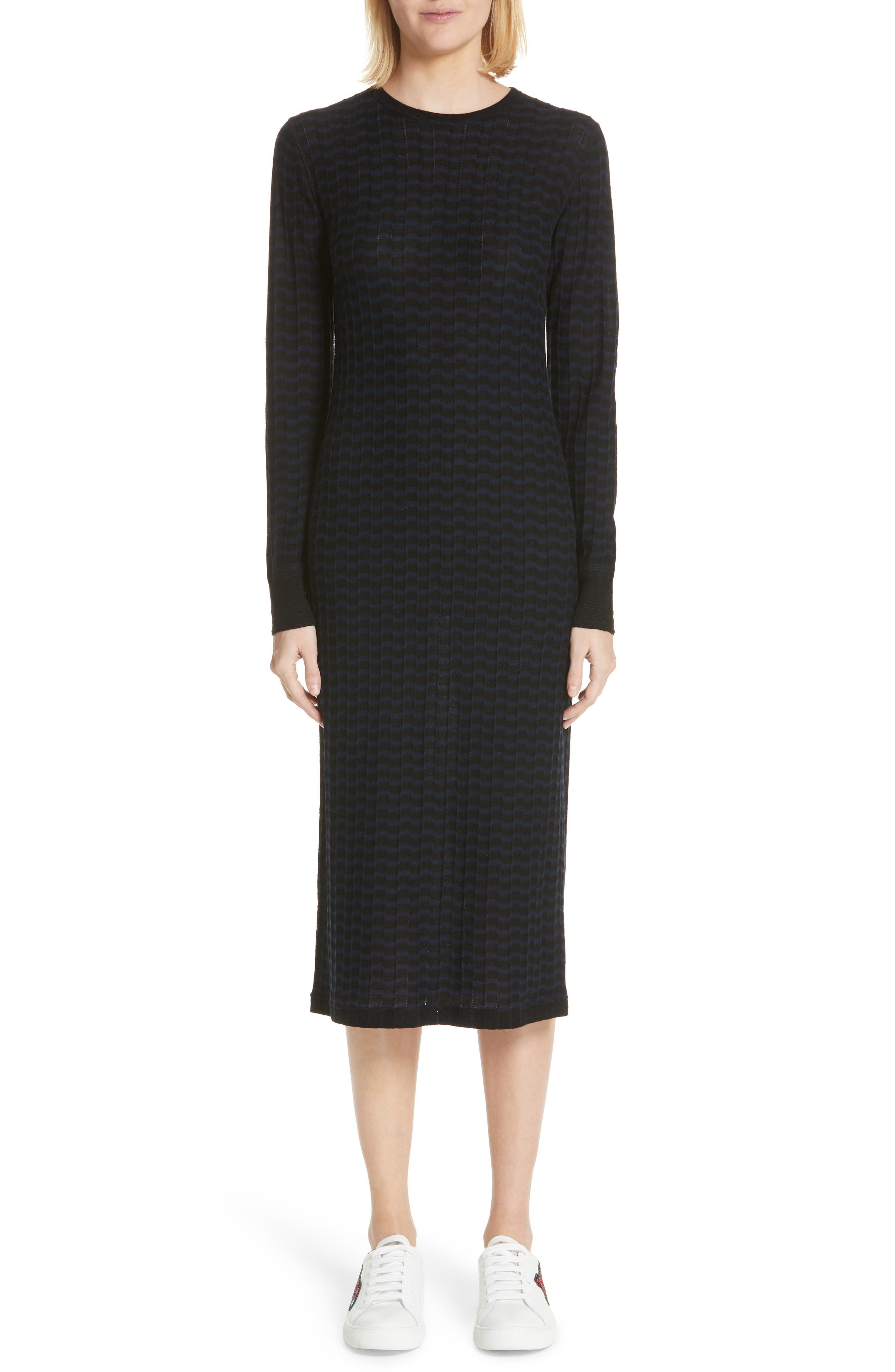Stripe Wool Sweater-Dress,                             Main thumbnail 1, color,                             400