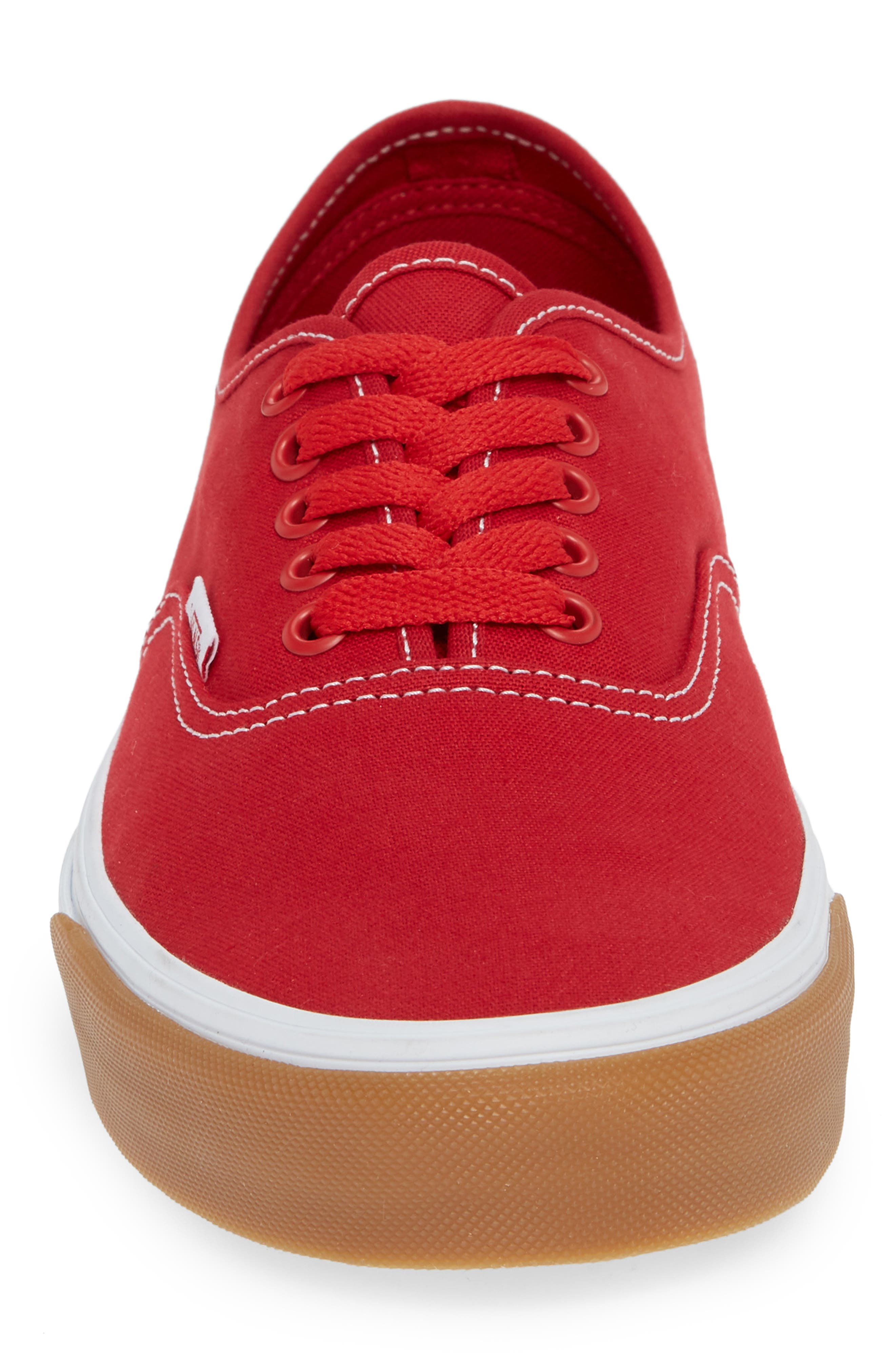 VANS,                             Authentic Gum Bumper Sneaker,                             Alternate thumbnail 4, color,                             RED/ TRUE WHITE