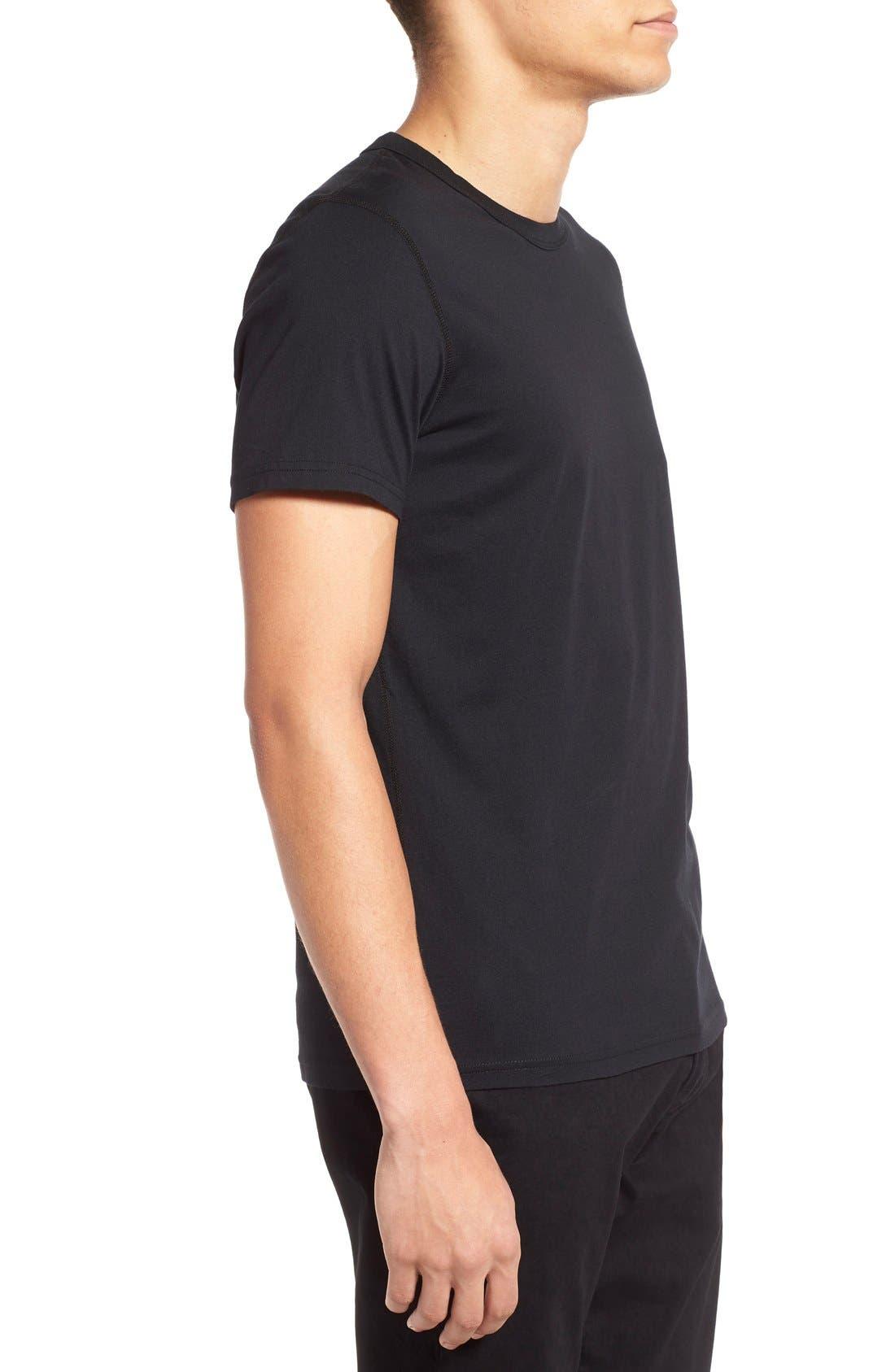 Short Sleeve Crewneck T-Shirt,                             Alternate thumbnail 2, color,                             BLACK