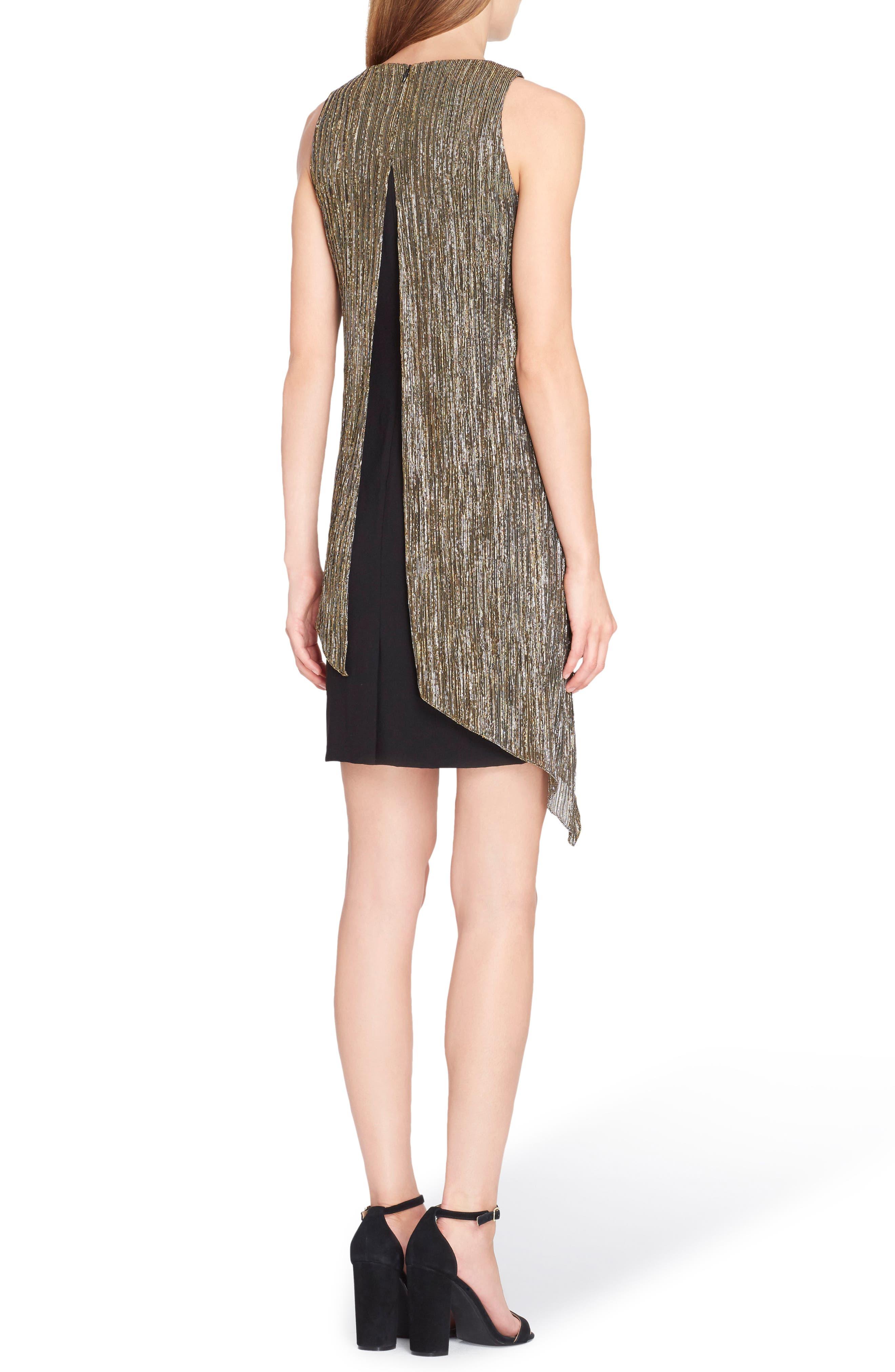 Metallic Overlay Sheath Dress,                             Alternate thumbnail 2, color,                             015