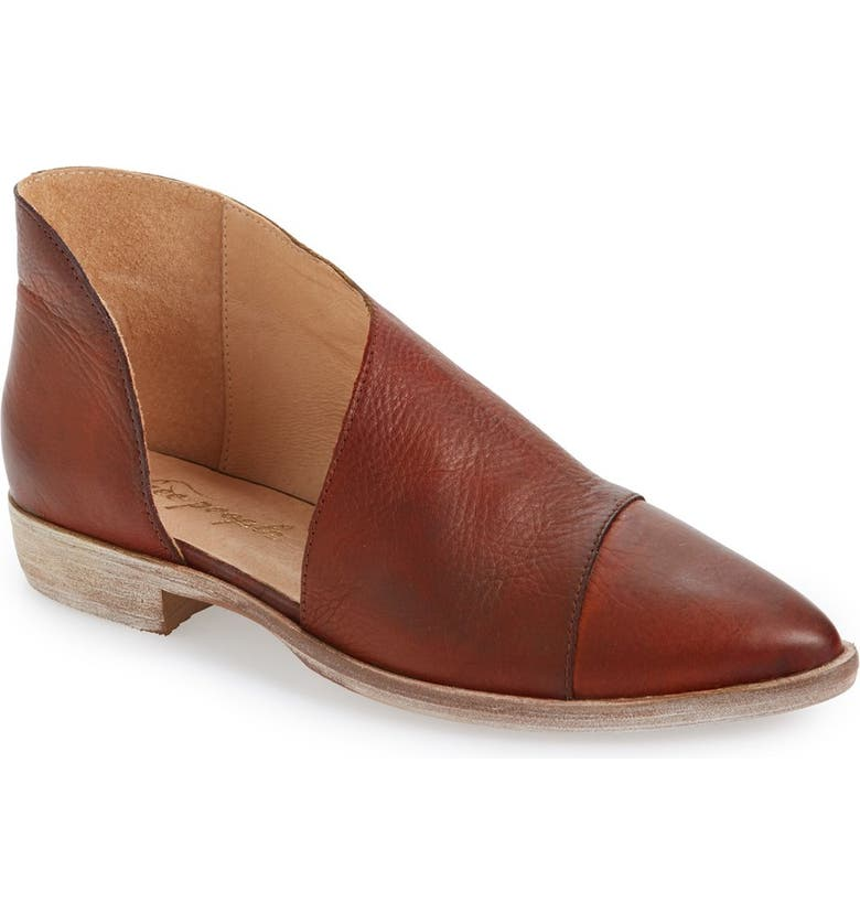 'Royale' Pointy Toe Flat, Main, color, WHISKEY LEATHER