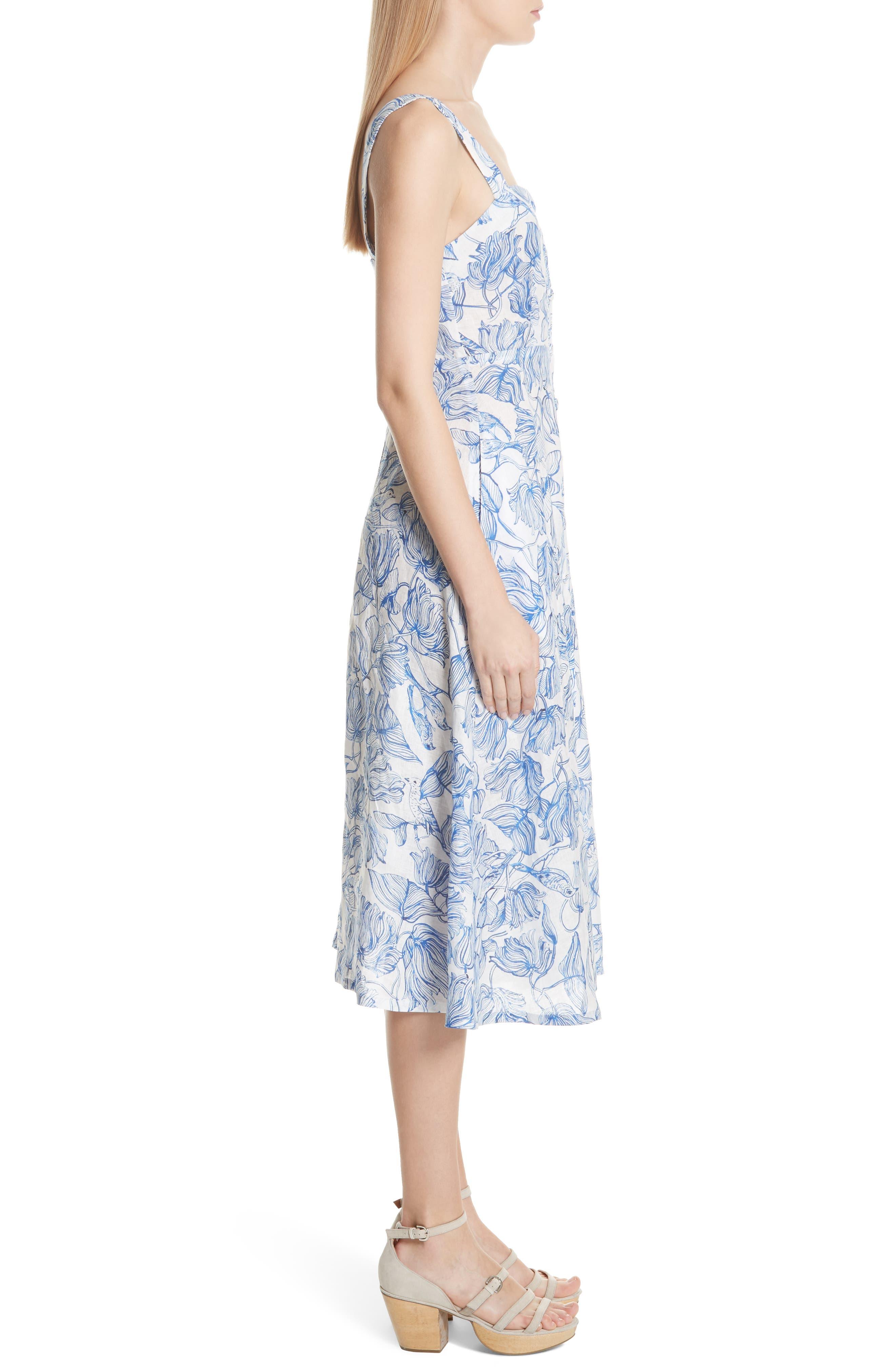 RACHEL COMEY,                             Lido Linen Dress,                             Alternate thumbnail 3, color,                             435