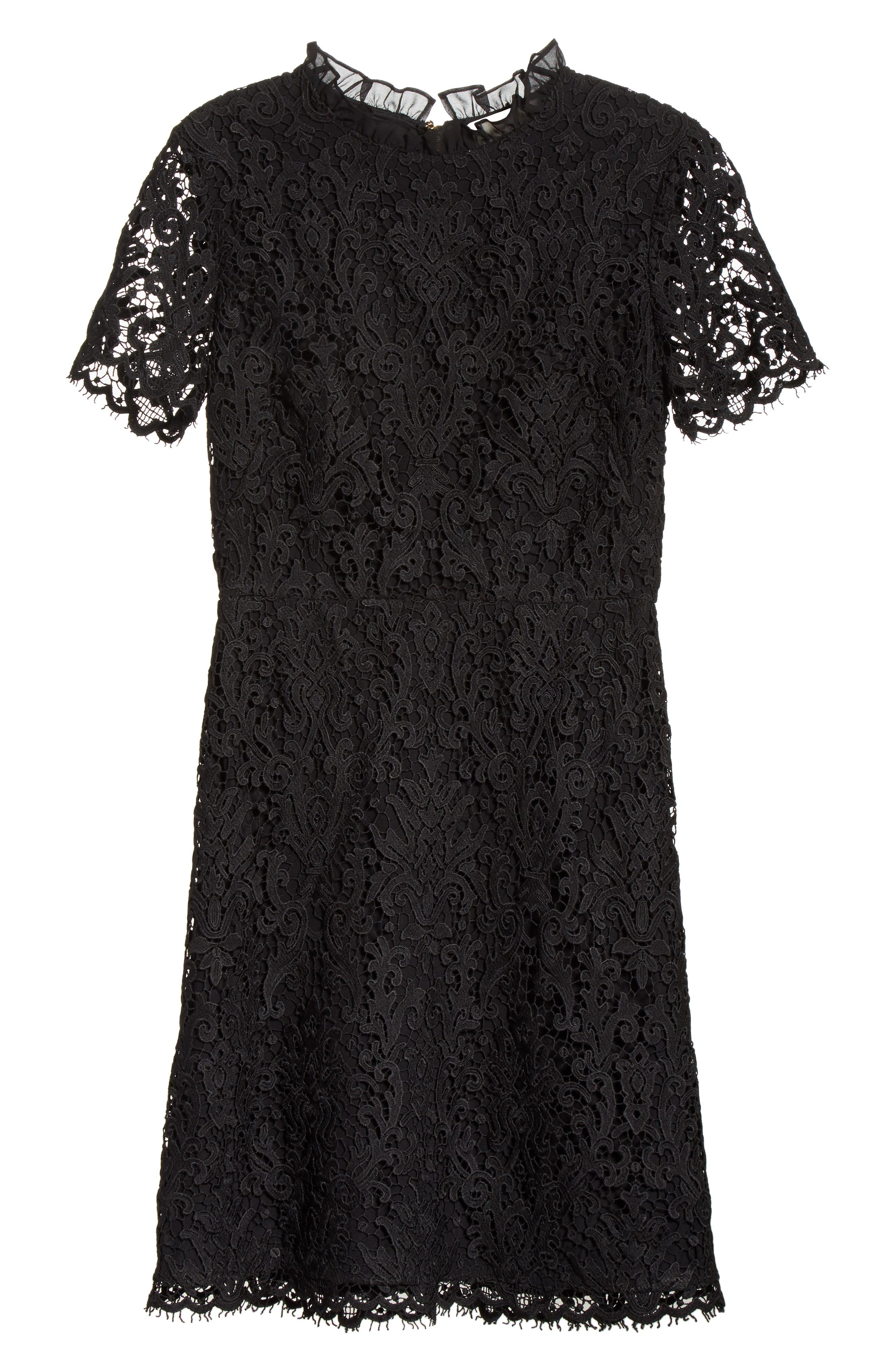 tapestry lace dress,                             Alternate thumbnail 6, color,                             001