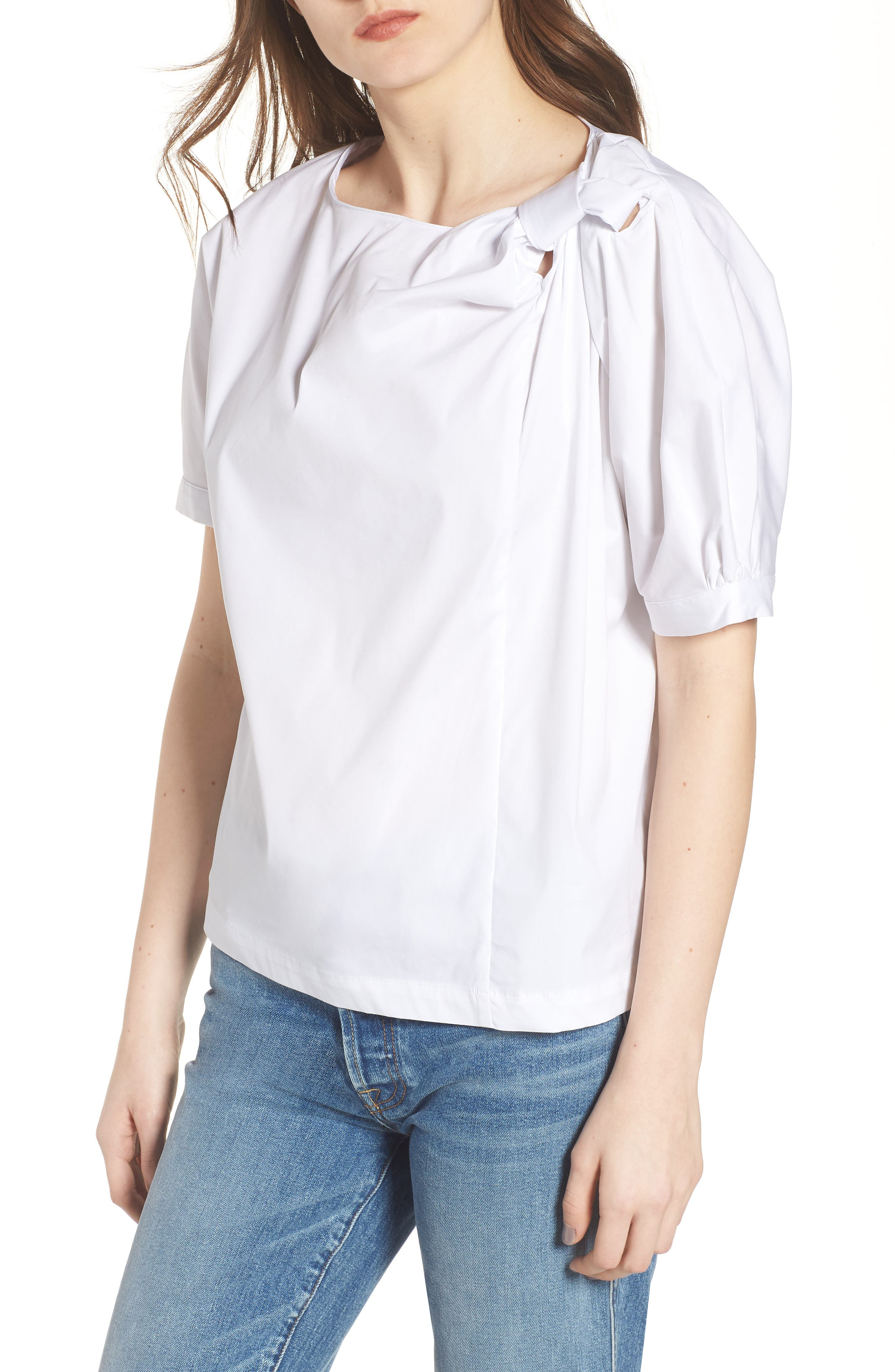 Knot Neck Top,                         Main,                         color, WHITE