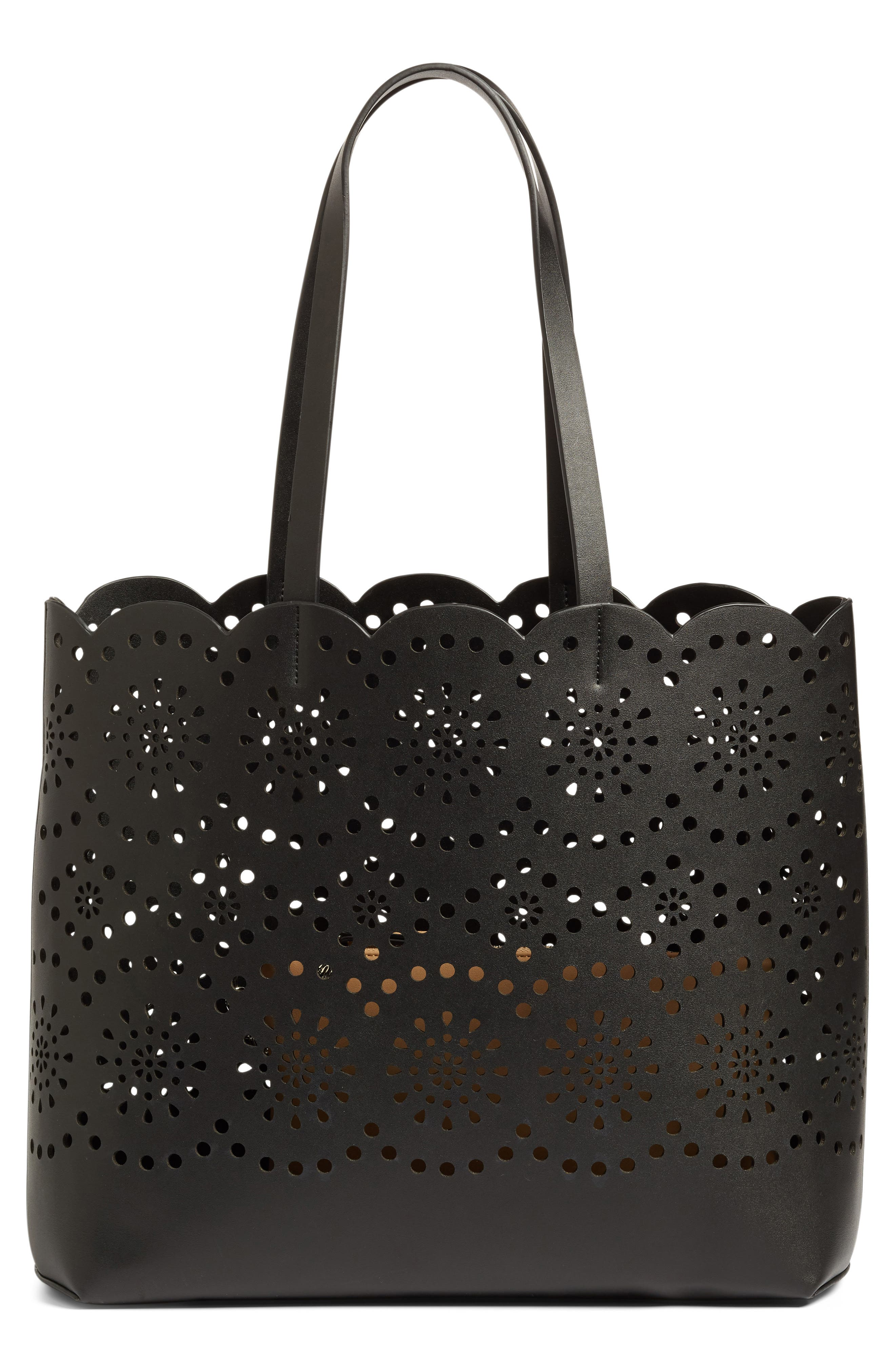 Lily Scallop Faux Leather Tote,                             Main thumbnail 1, color,                             001