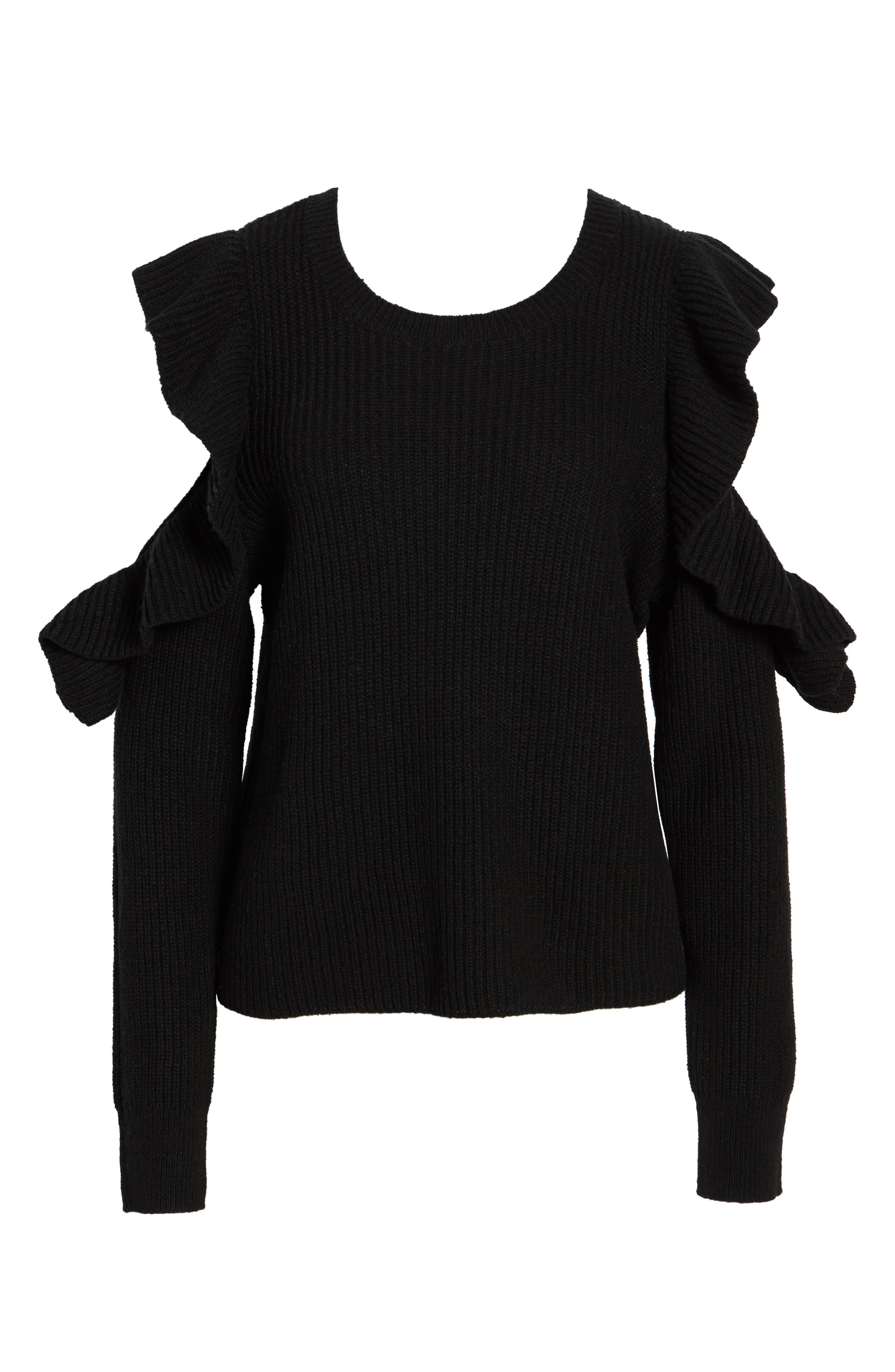 Ruffle Cold Shoulder Sweater,                             Alternate thumbnail 6, color,                             001