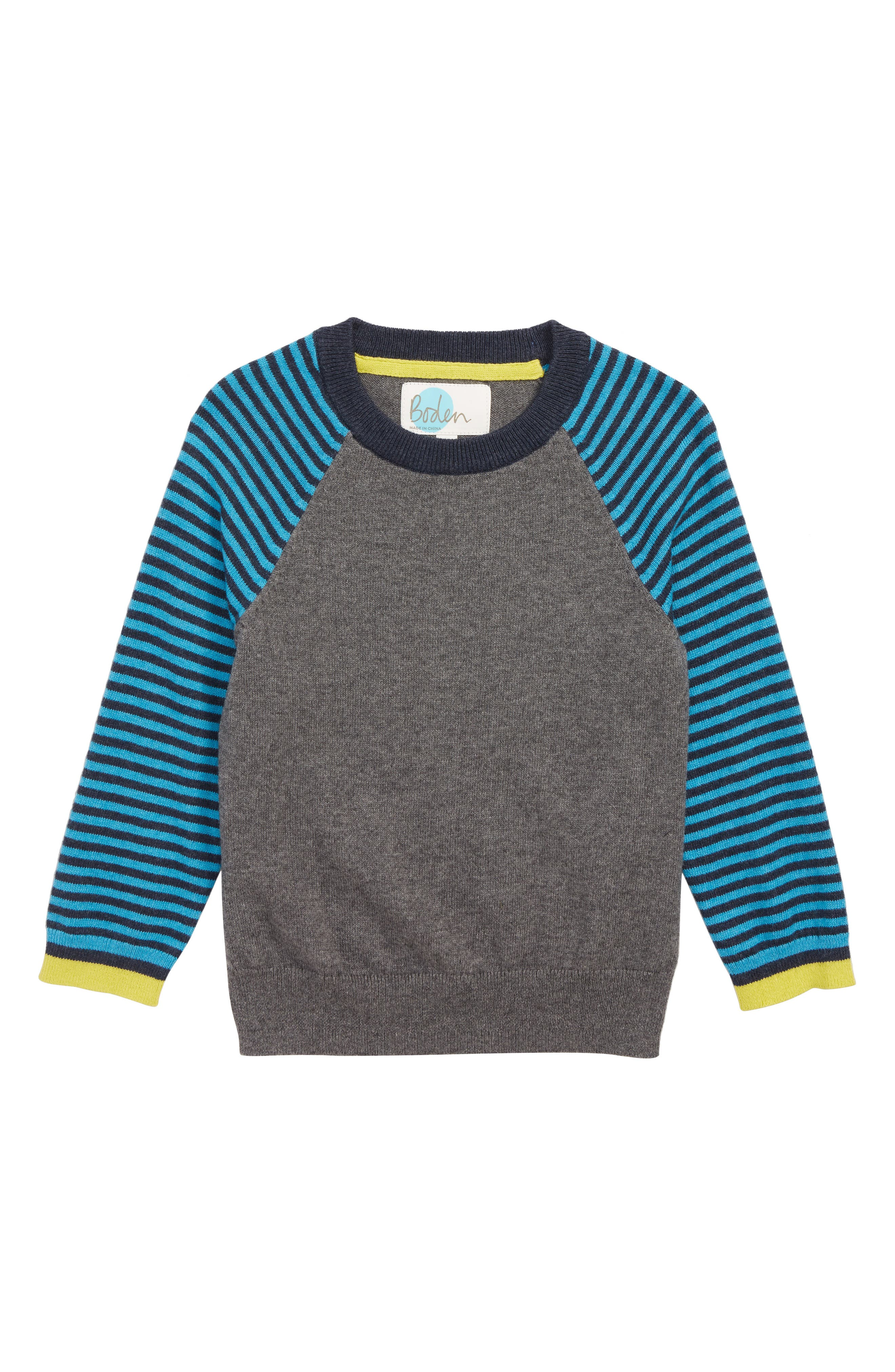 Stripe Sweater,                             Main thumbnail 1, color,                             CHARCOAL MARL/ ASTRO GREEN