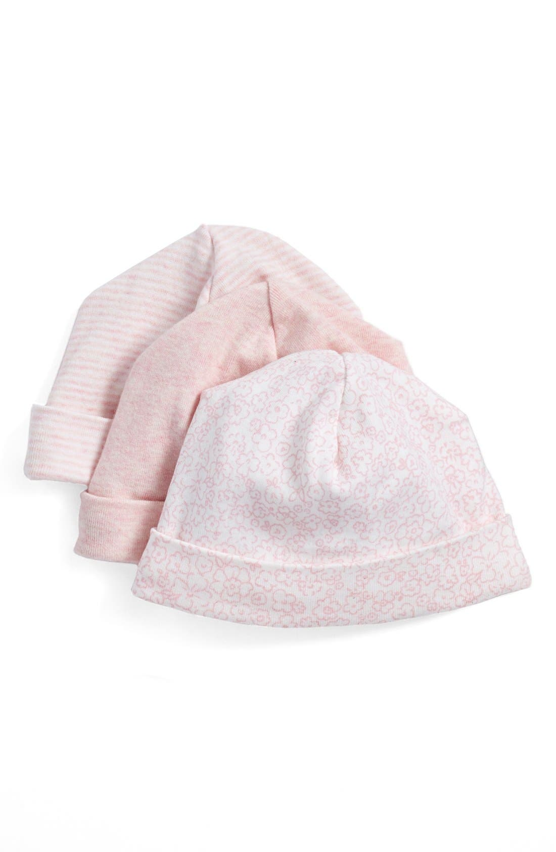 Beanie Hats,                             Main thumbnail 1, color,                             PINK BABY PACK