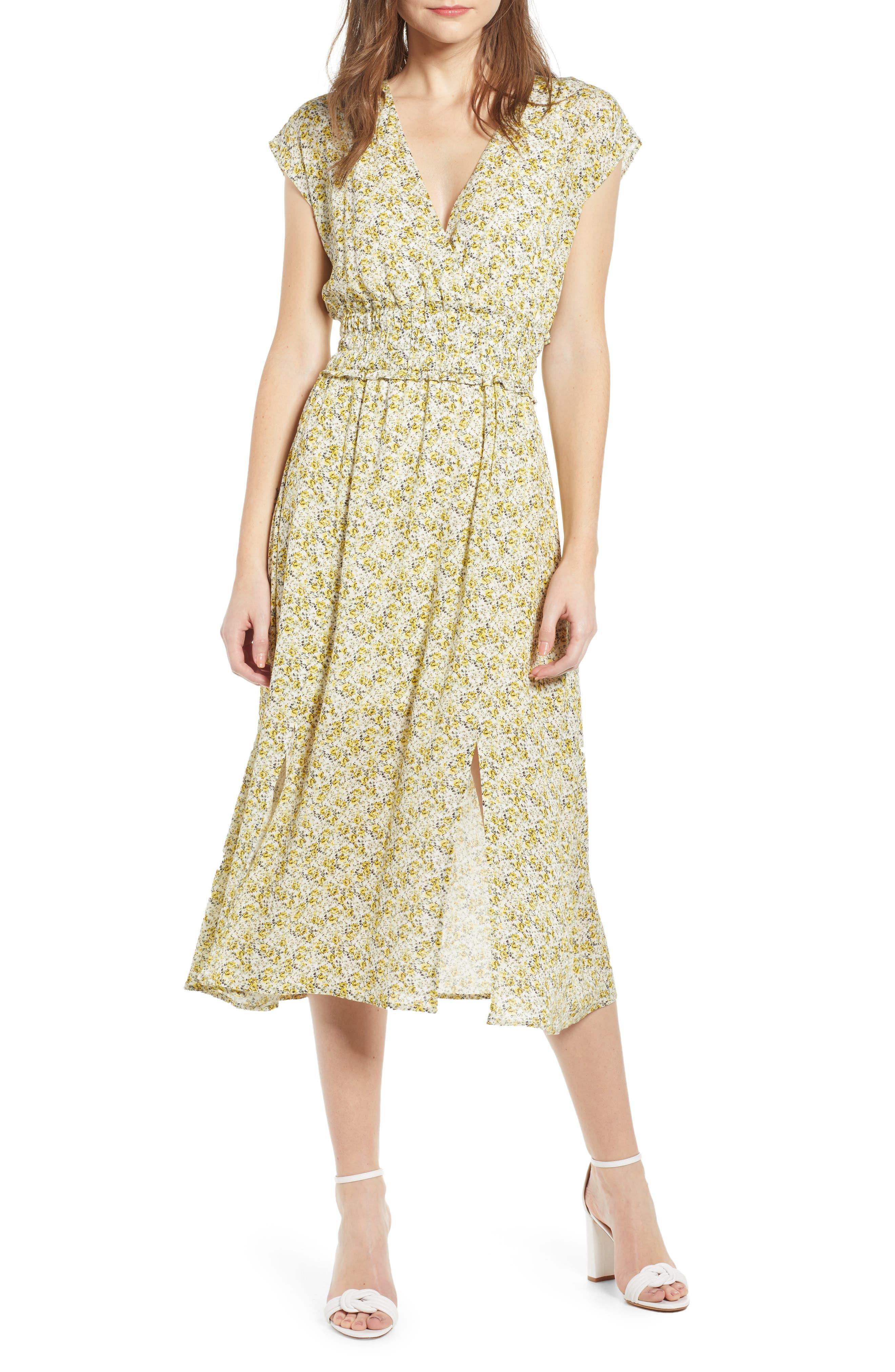 Wayf Leanne Double Slit Smocked Midi Dress, Yellow