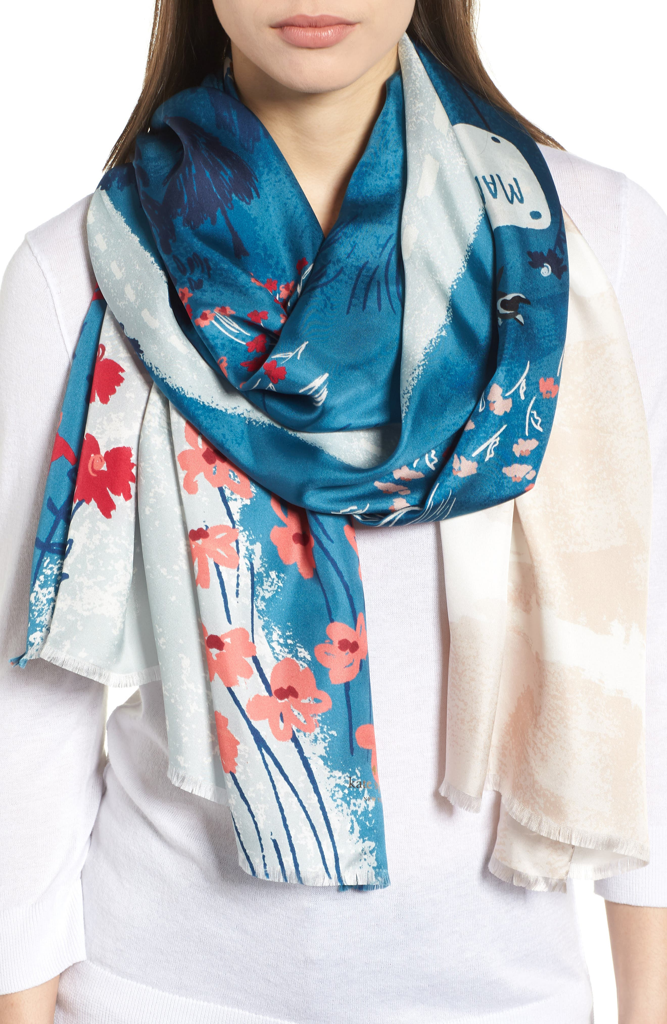 road oblong silk scarf,                         Main,                         color, 409