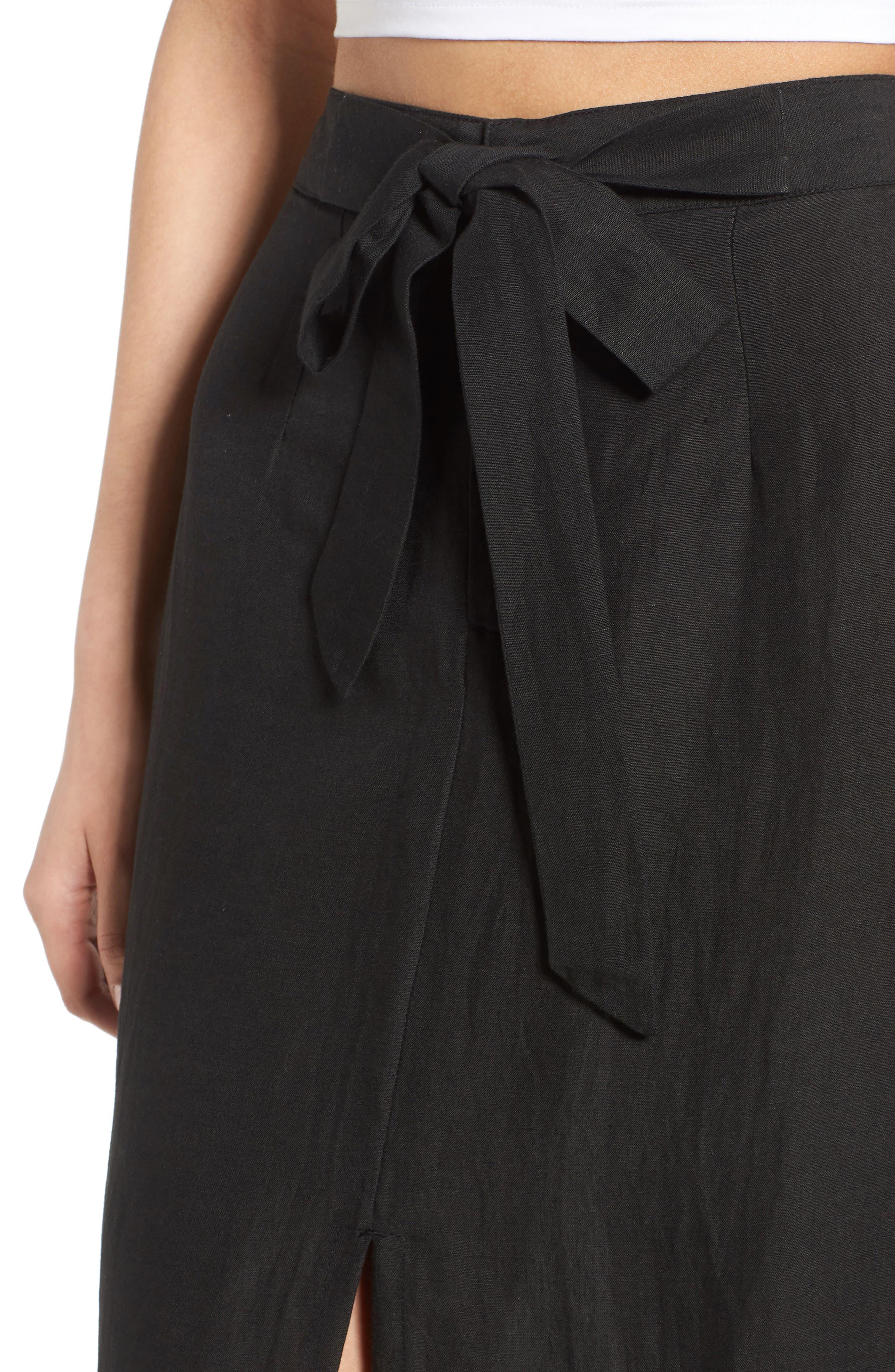 Linen Blend Midi Skirt,                             Alternate thumbnail 4, color,                             001