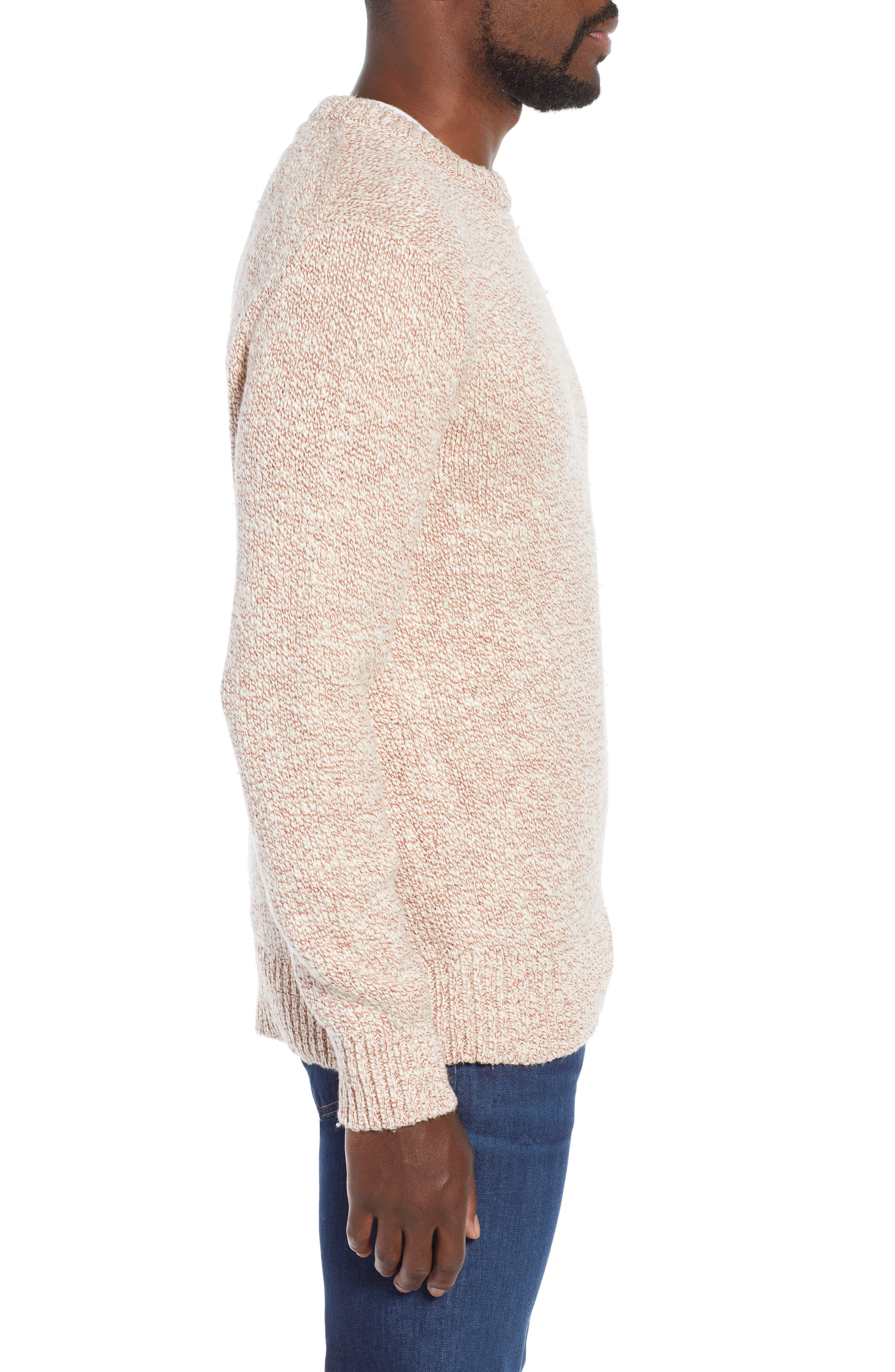 Wallace & Barnes Crewneck Marled Cotton Sweater,                             Alternate thumbnail 3, color,                             TERRACOTTA