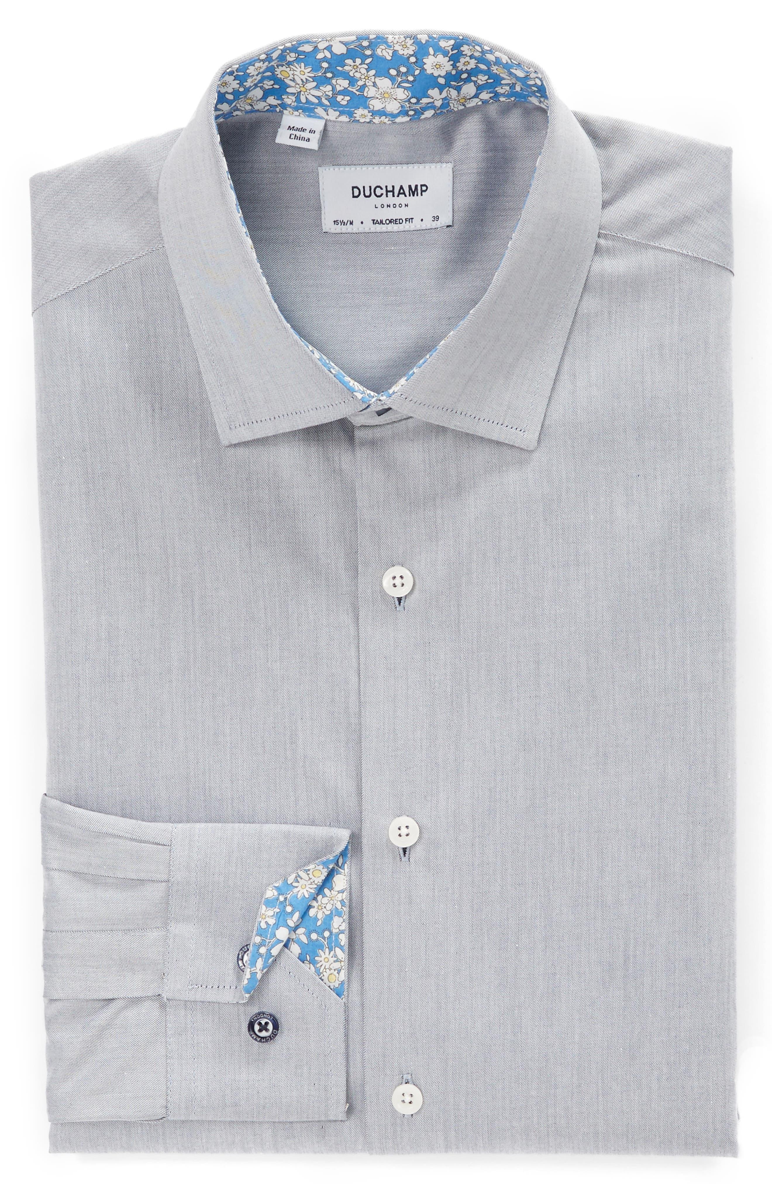 Trim Fit Solid Dress Shirt,                             Alternate thumbnail 3, color,                             GREY