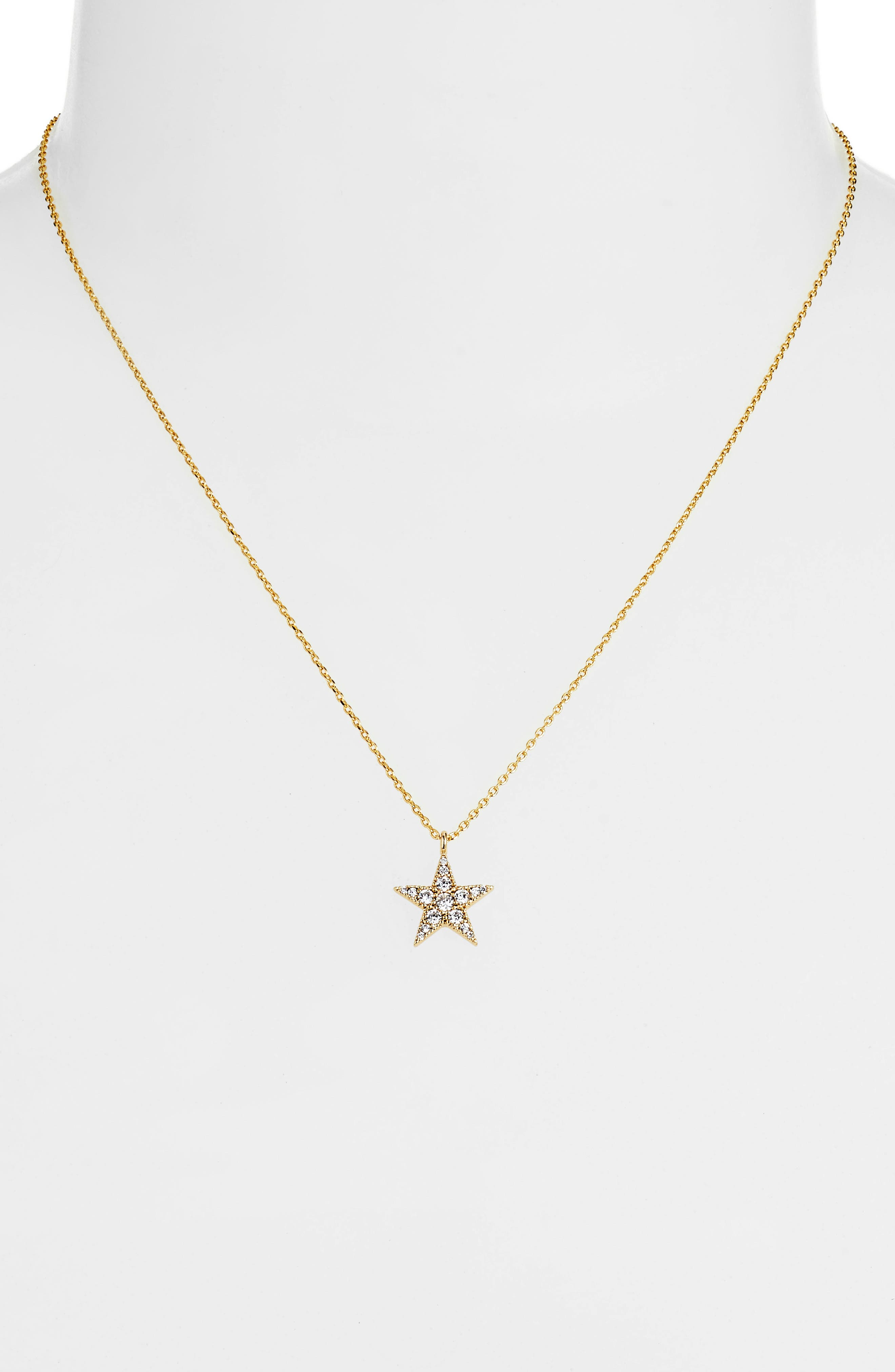 Granulated Star Necklace,                             Alternate thumbnail 2, color,                             GOLD CZ/ GUNMETAL