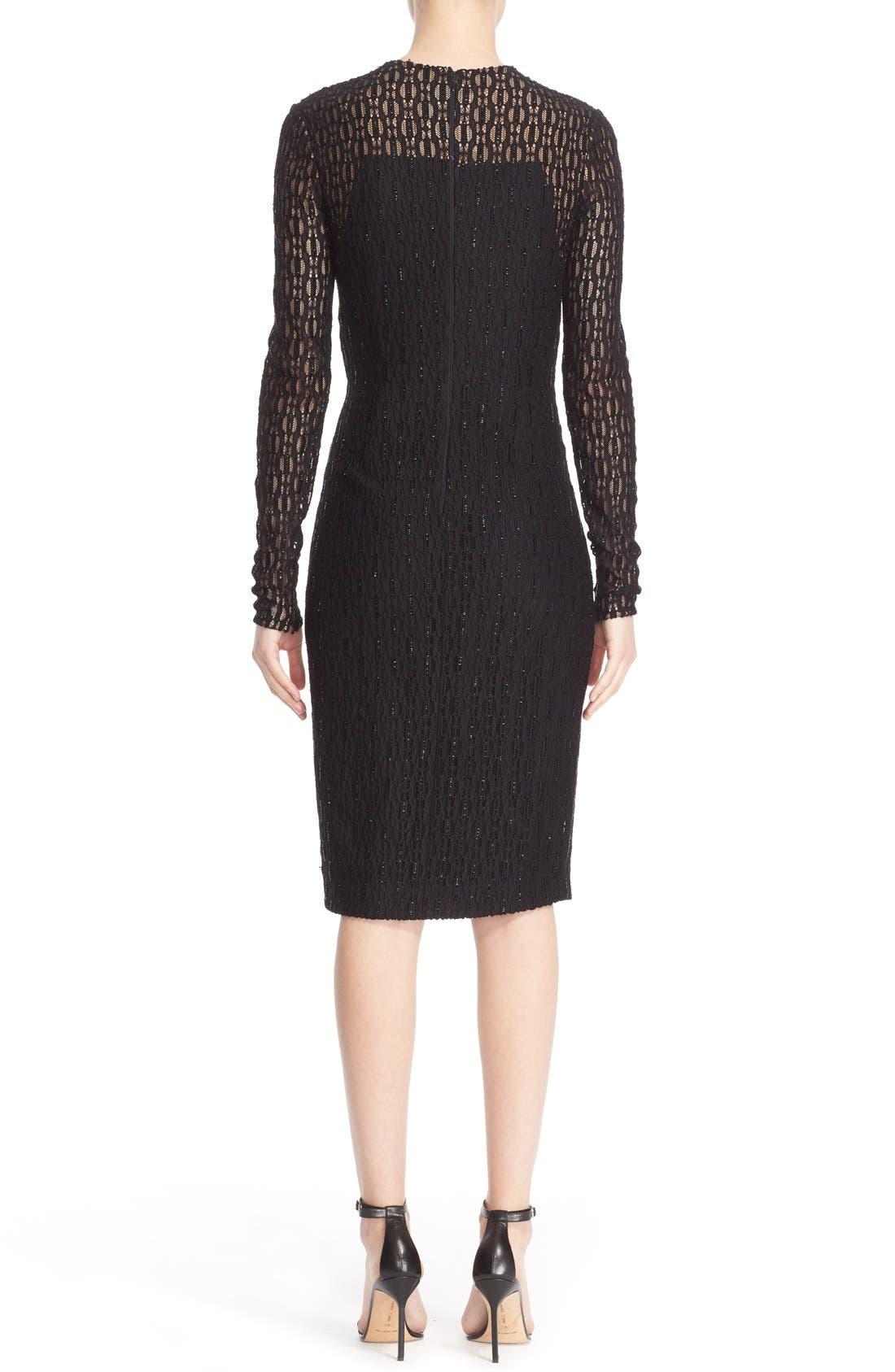 Embellished Illusion Lace Knit Sheath Dress,                             Alternate thumbnail 4, color,                             001