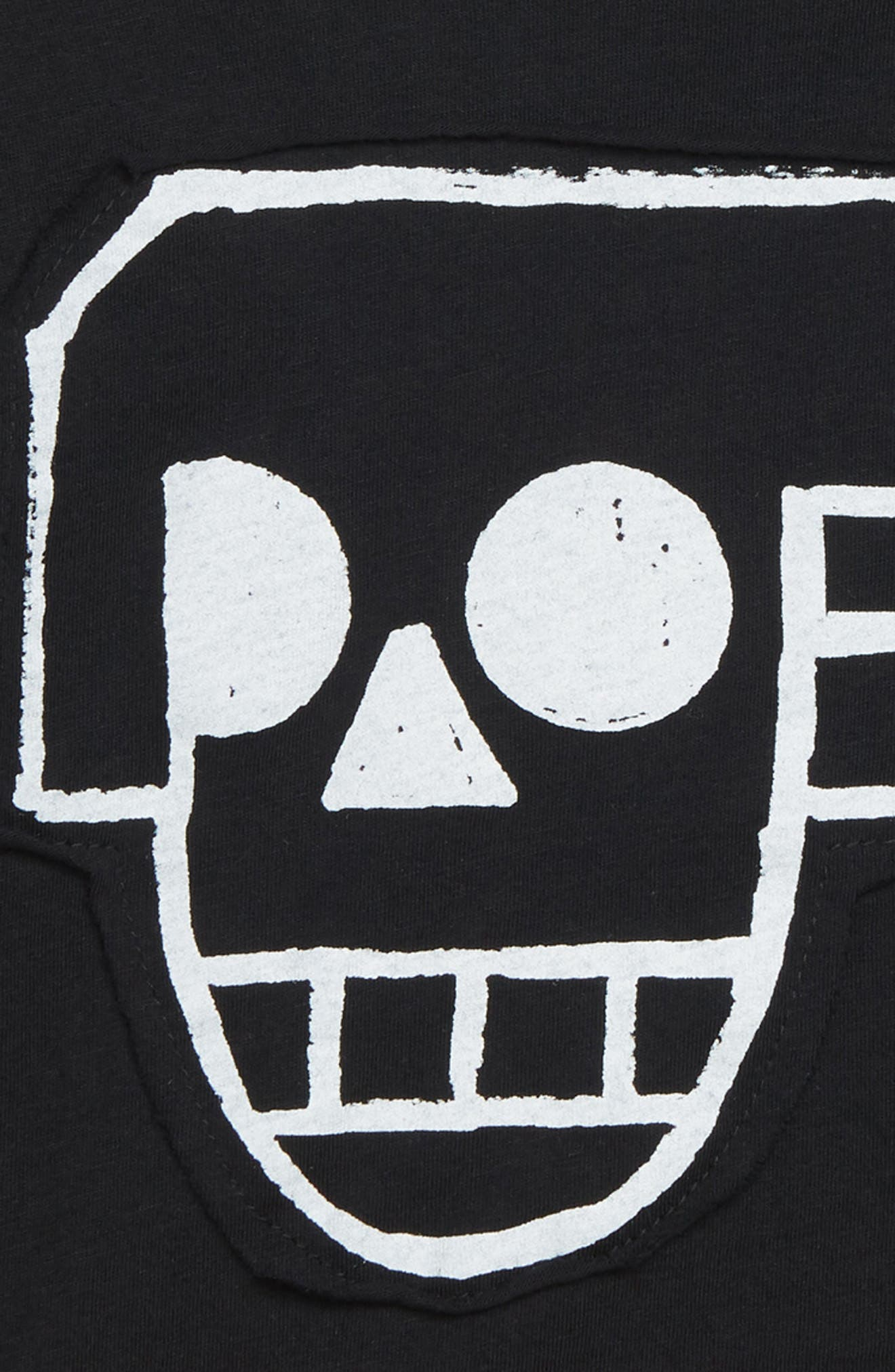 Skull Robot Patch Layer T-Shirt,                             Alternate thumbnail 2, color,                             001