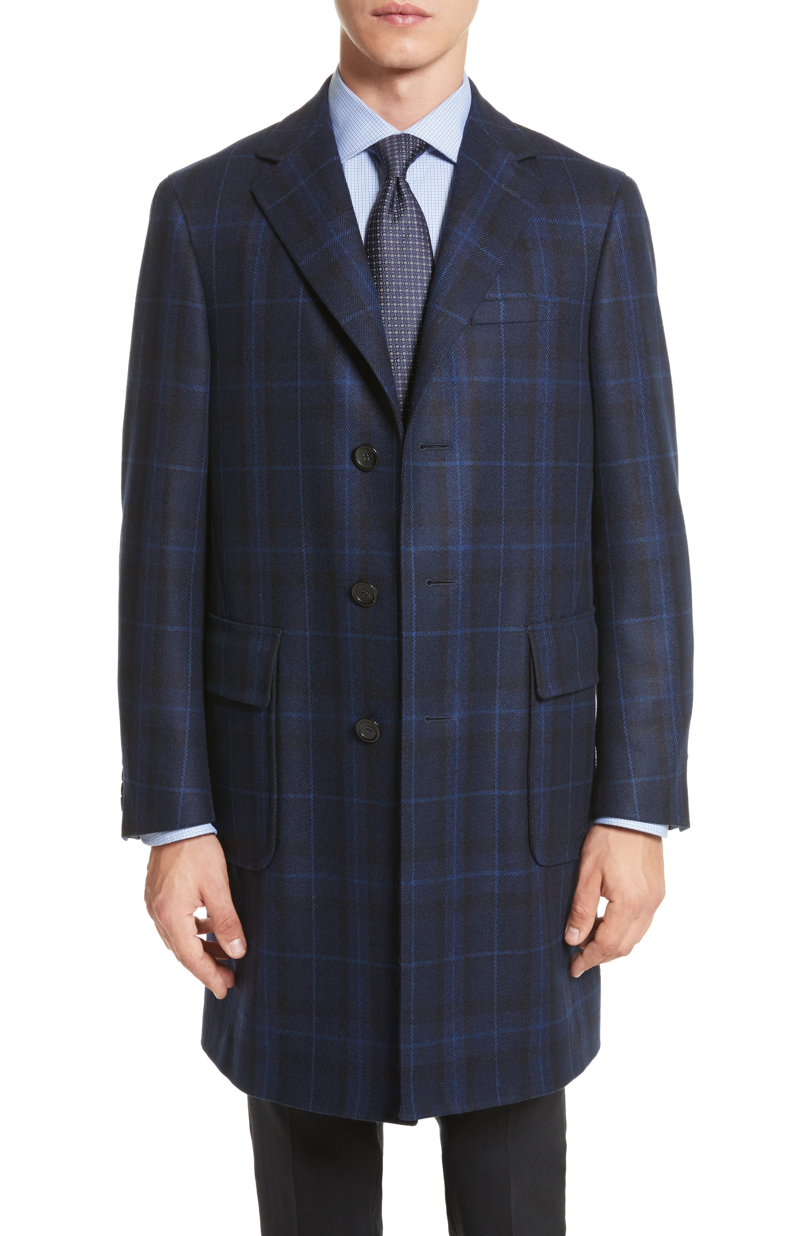 Classic Fit Plaid Wool & Cashmere Blend Topcoat,                         Main,                         color, 410