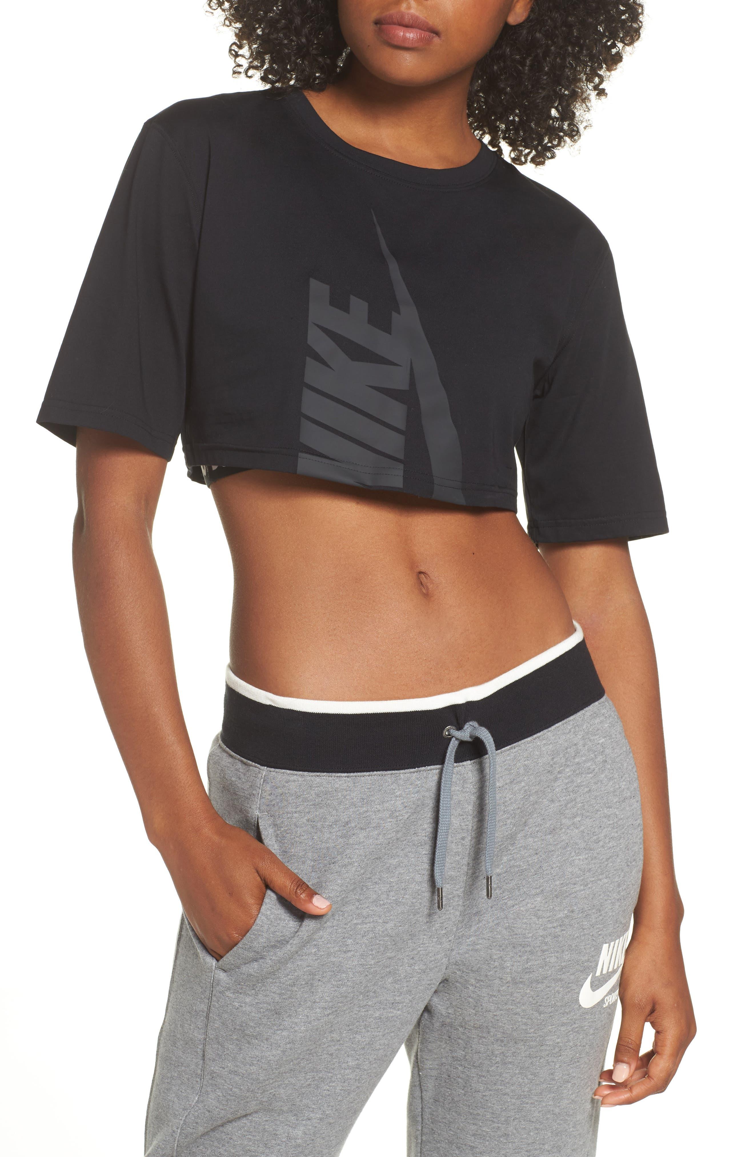 NikeLab Collection Jersey Crop Top,                             Main thumbnail 1, color,                             BLACK/ BLACK
