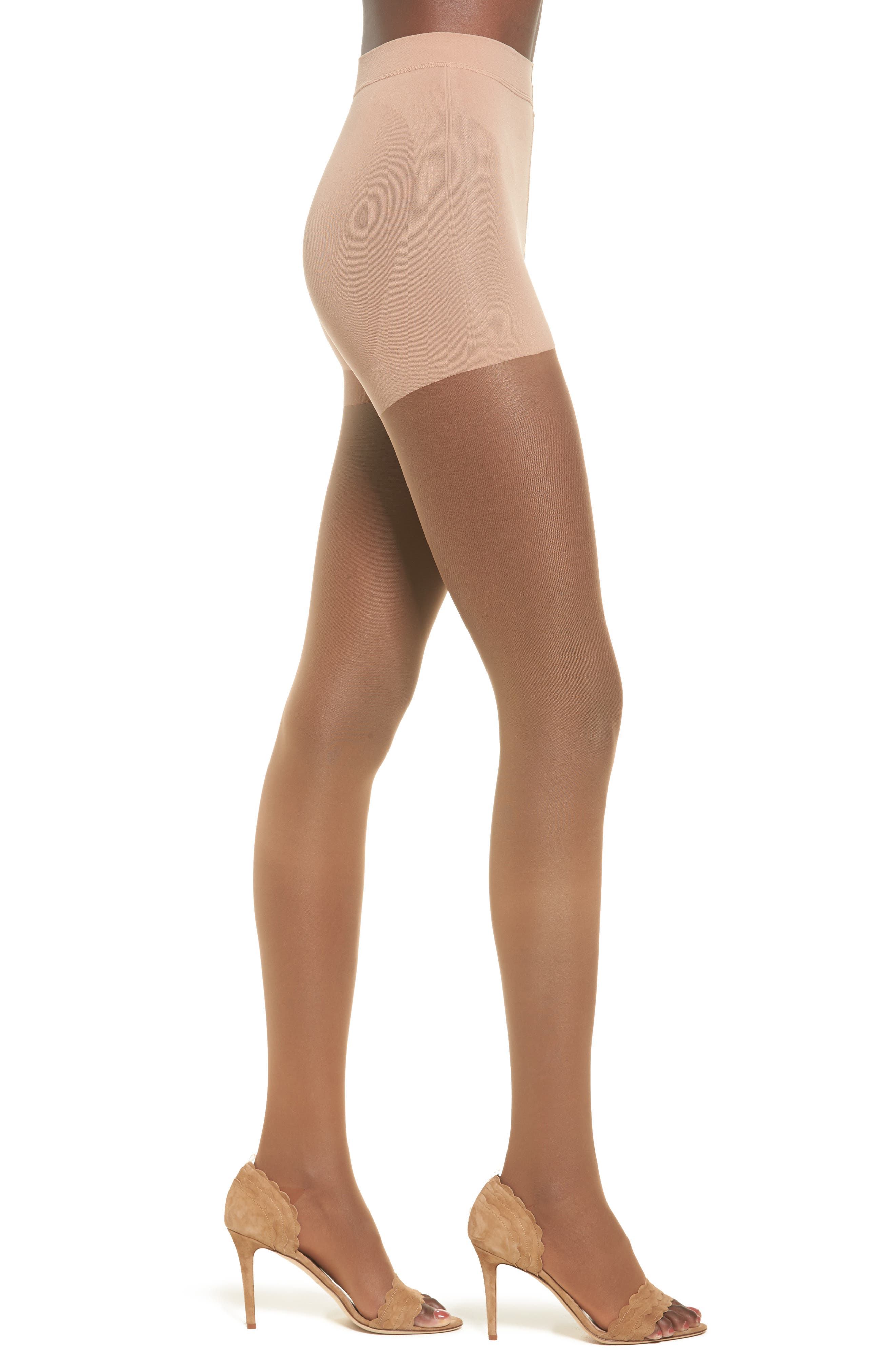 Invisible Open Toe Tights,                             Main thumbnail 1, color,                             BRONZE