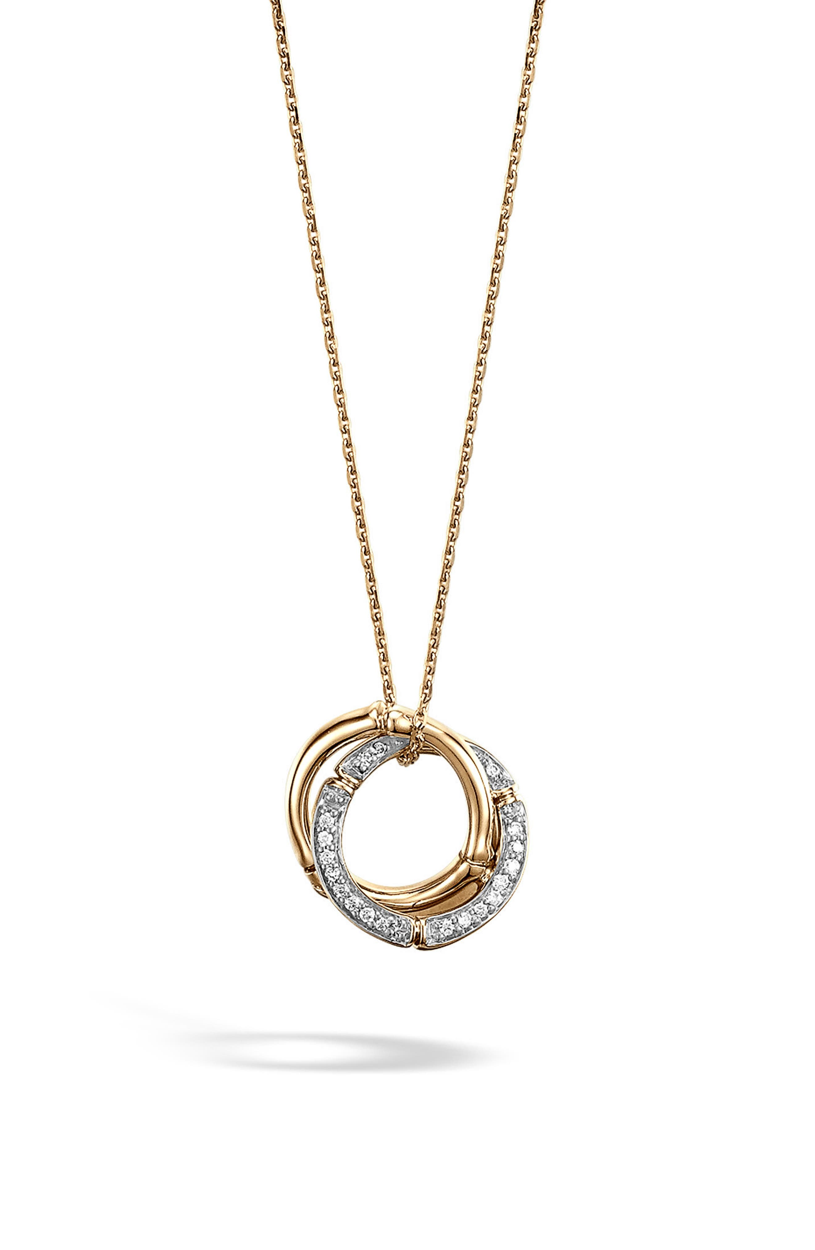 Bamboo Diamond & 18k Gold Pendant Necklace,                             Main thumbnail 1, color,                             GOLD