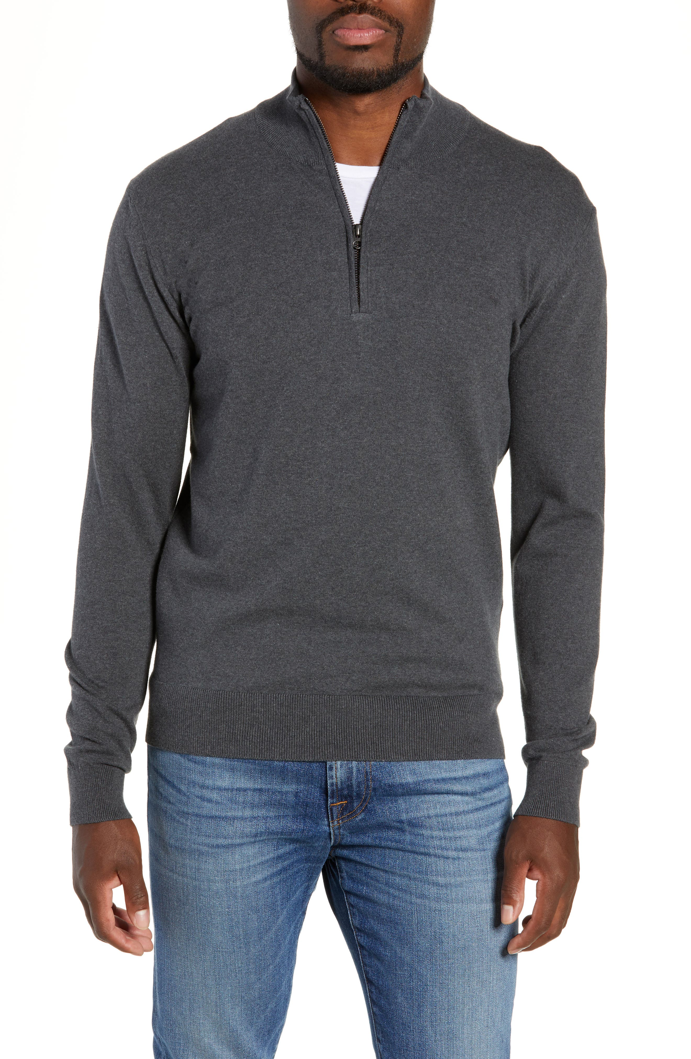 French Connection Stretch Cotton Quarter Zip Sweater, Grey