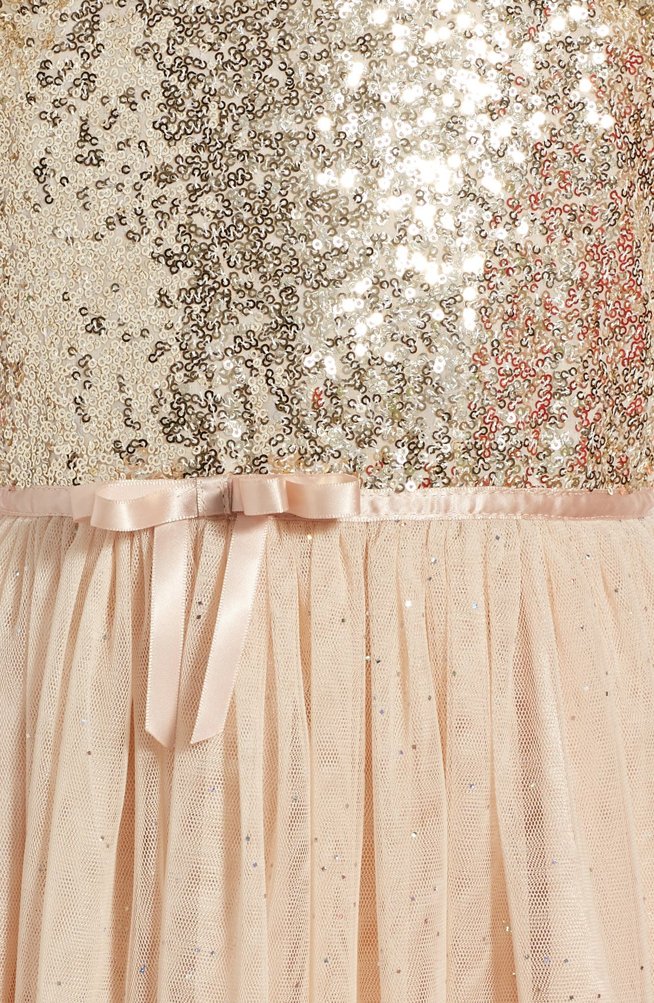 Sequin Bodice Tulle Dress,                             Alternate thumbnail 3, color,                             WHITE/ GOLD