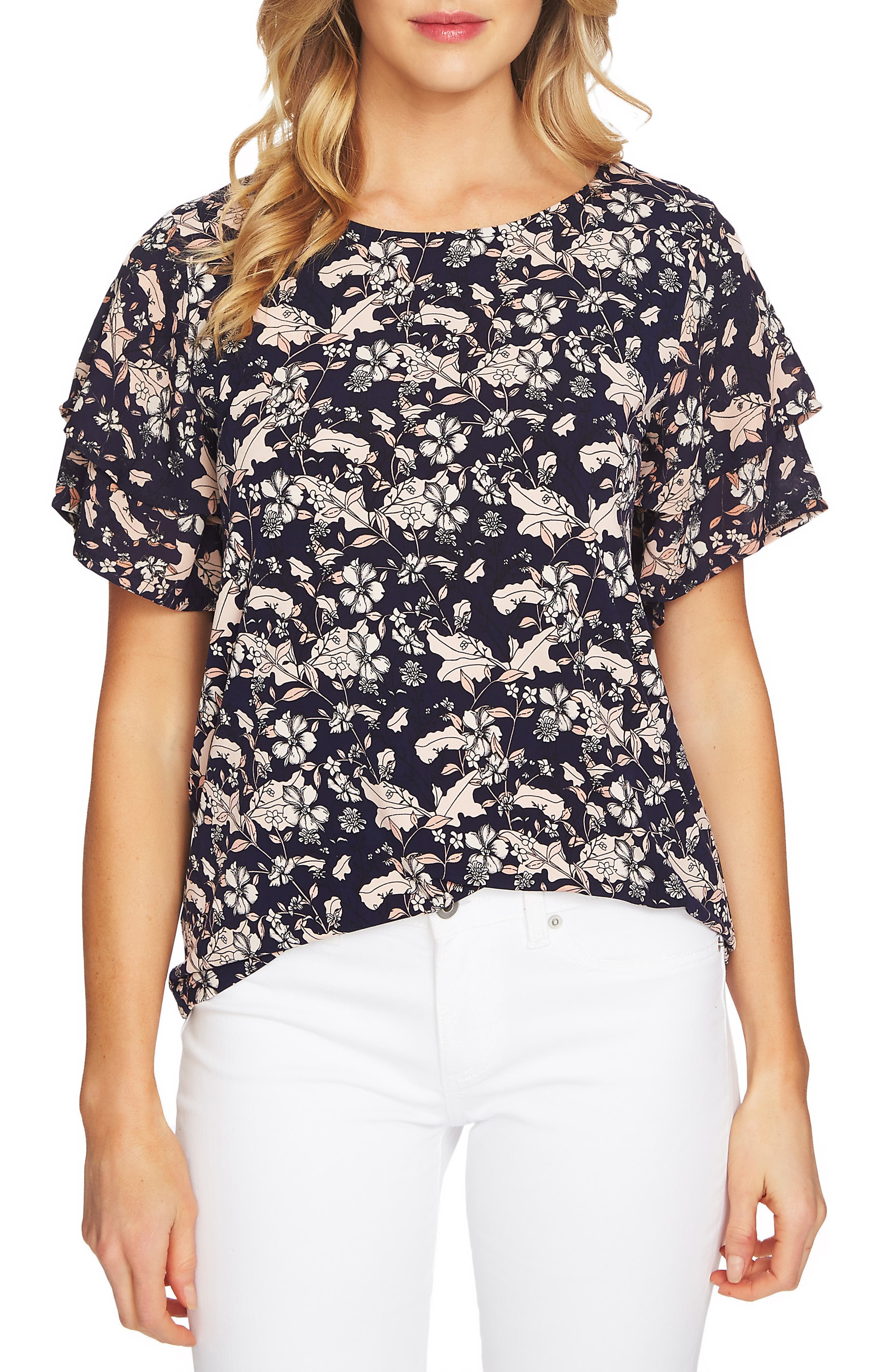 Tiered Sleeve Floral Top,                         Main,                         color, COCOA SAND