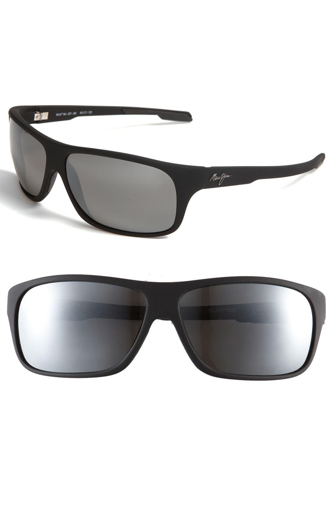 'Island Time - PolarizedPlus<sup>®</sup>' Rectangle Wrap 64mm Sunglasses,                         Main,                         color, 002