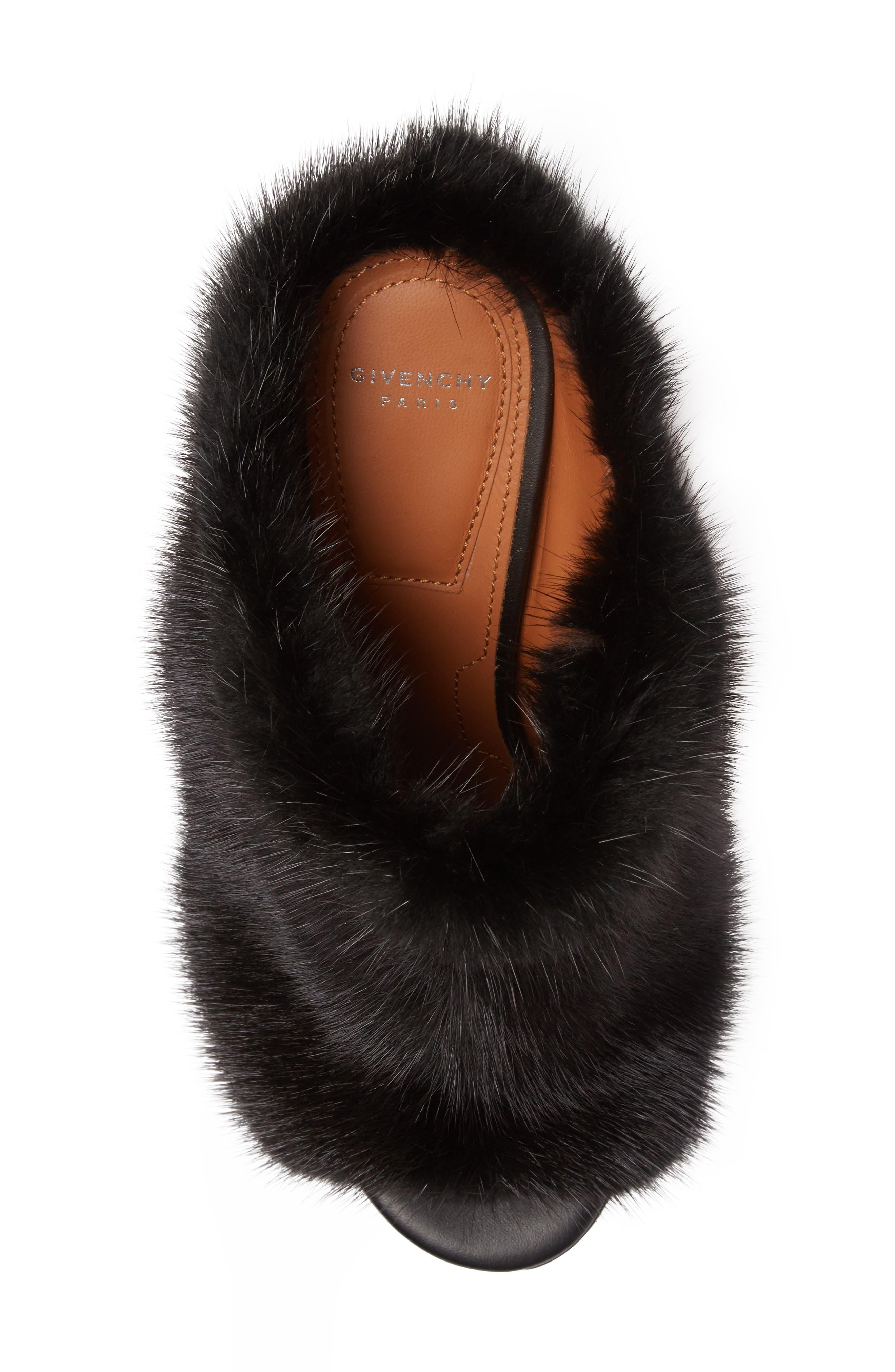 Paris Genuine Mink Fur Mule,                             Alternate thumbnail 4, color,                             001