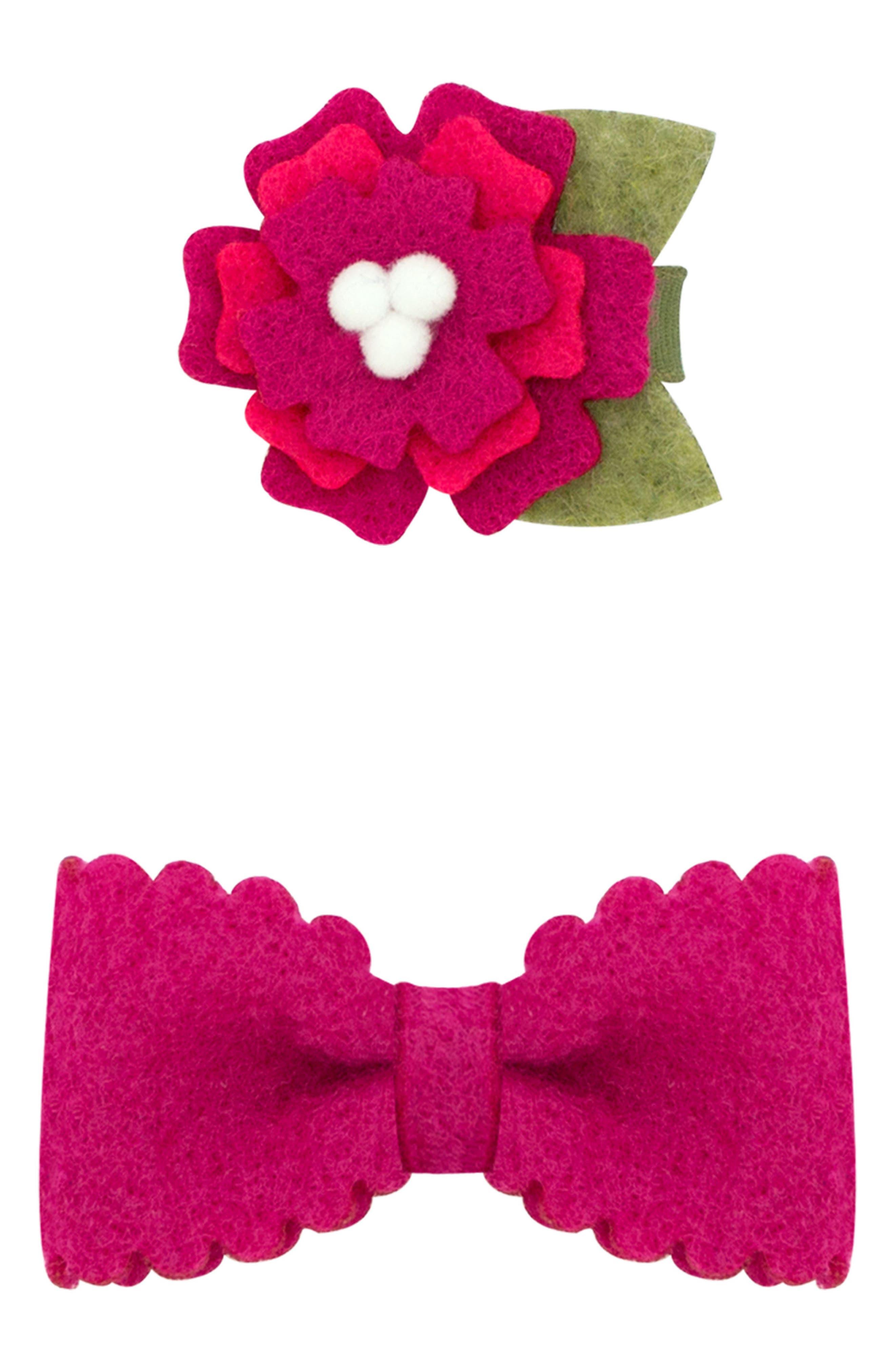 Small Felt Flower & Bow Hair Clips,                         Main,                         color, FUCHSIA