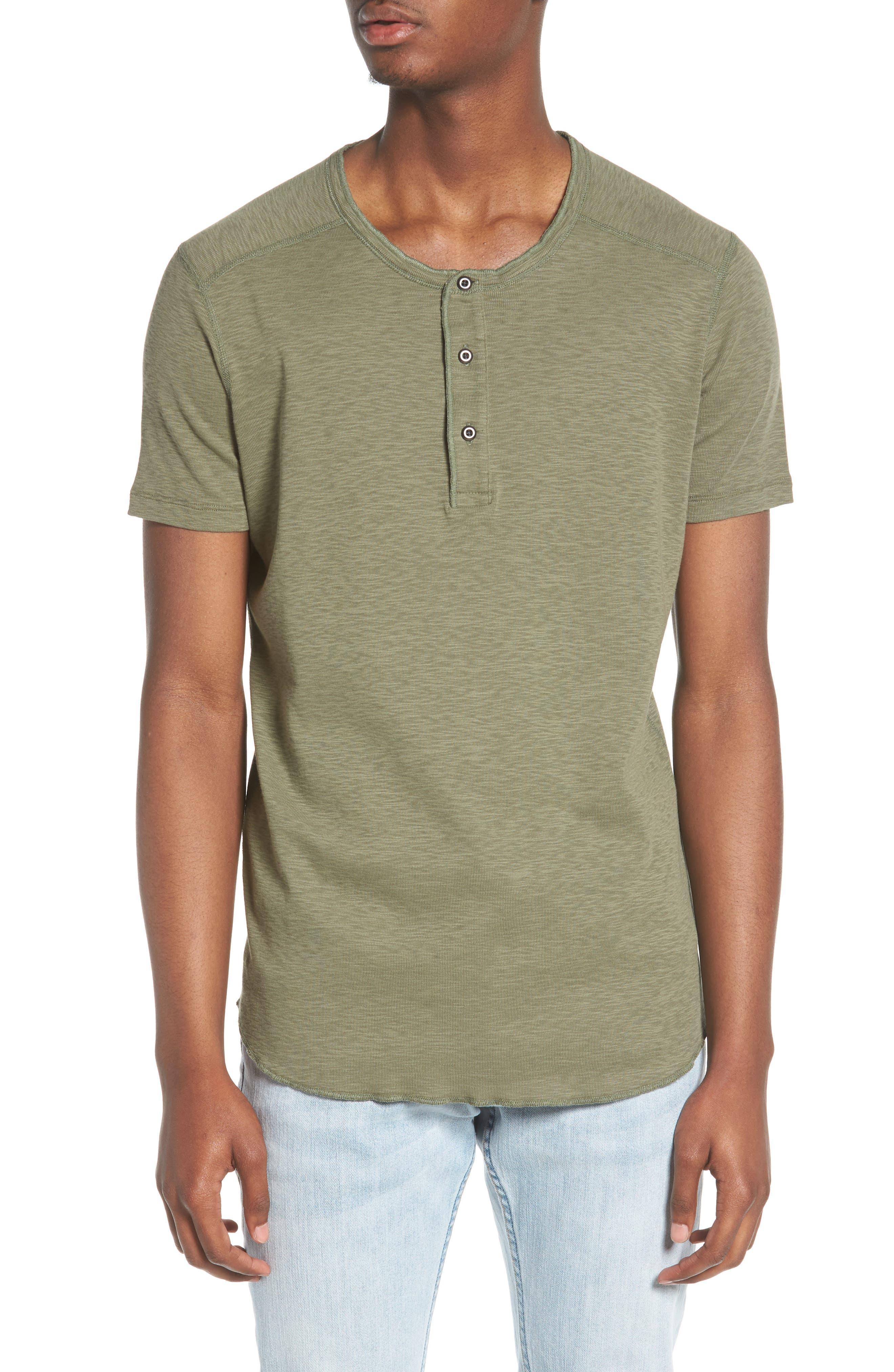 'Base' Short Sleeve Henley, Main, color, OLIVE