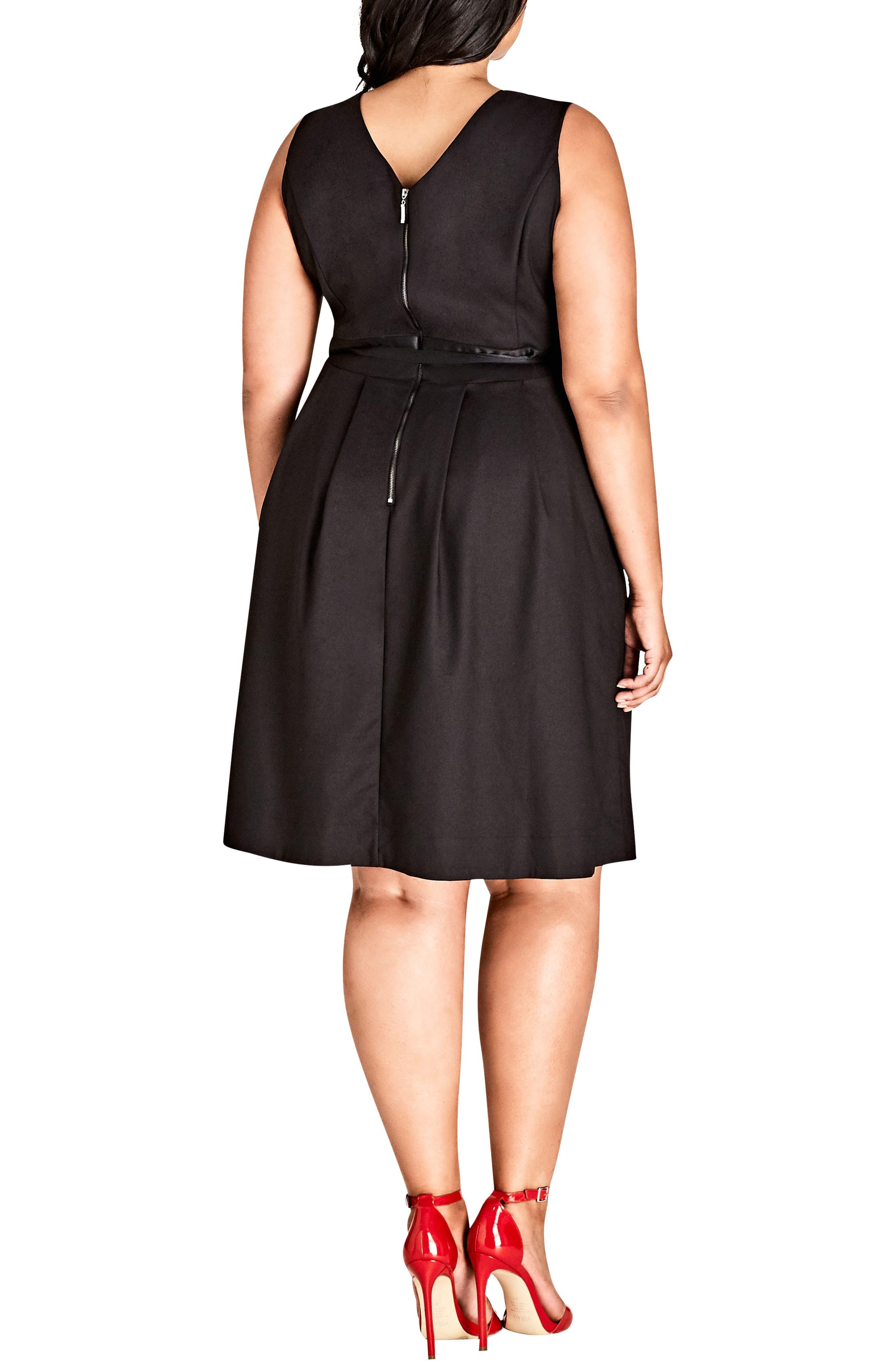 Sleeveless A-Line Dress,                             Alternate thumbnail 2, color,                             BLACK