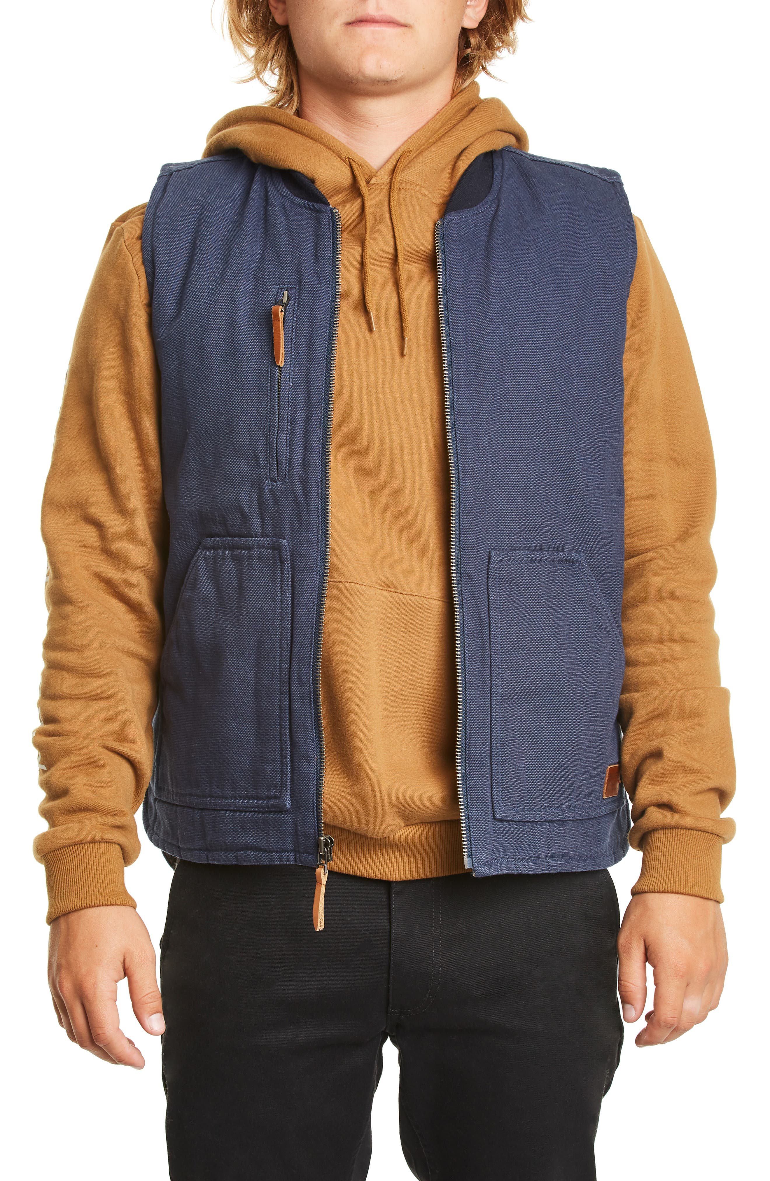 Abraham Water Resistant Vest,                         Main,                         color, WASHED NAVY