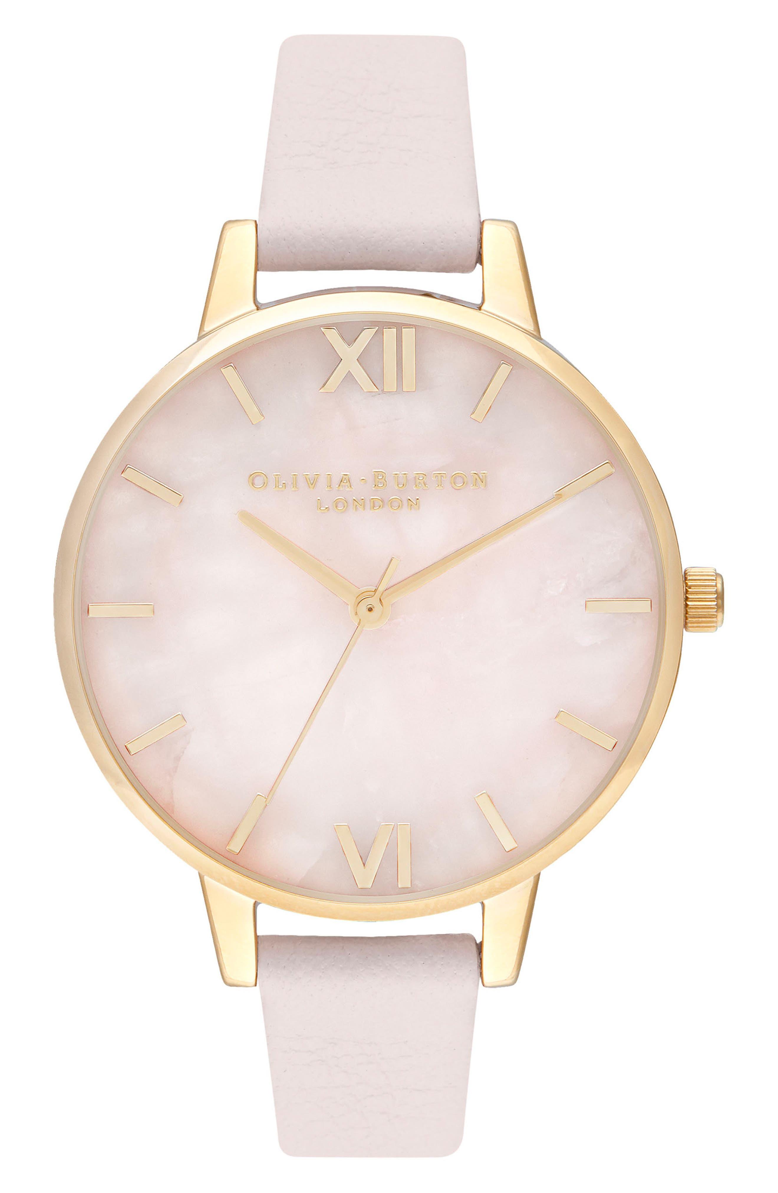 Rose Quartz Leather Strap Watch, 34mm,                             Main thumbnail 1, color,                             BLOSSOM/ ROSE QUARTZ/ GOLD