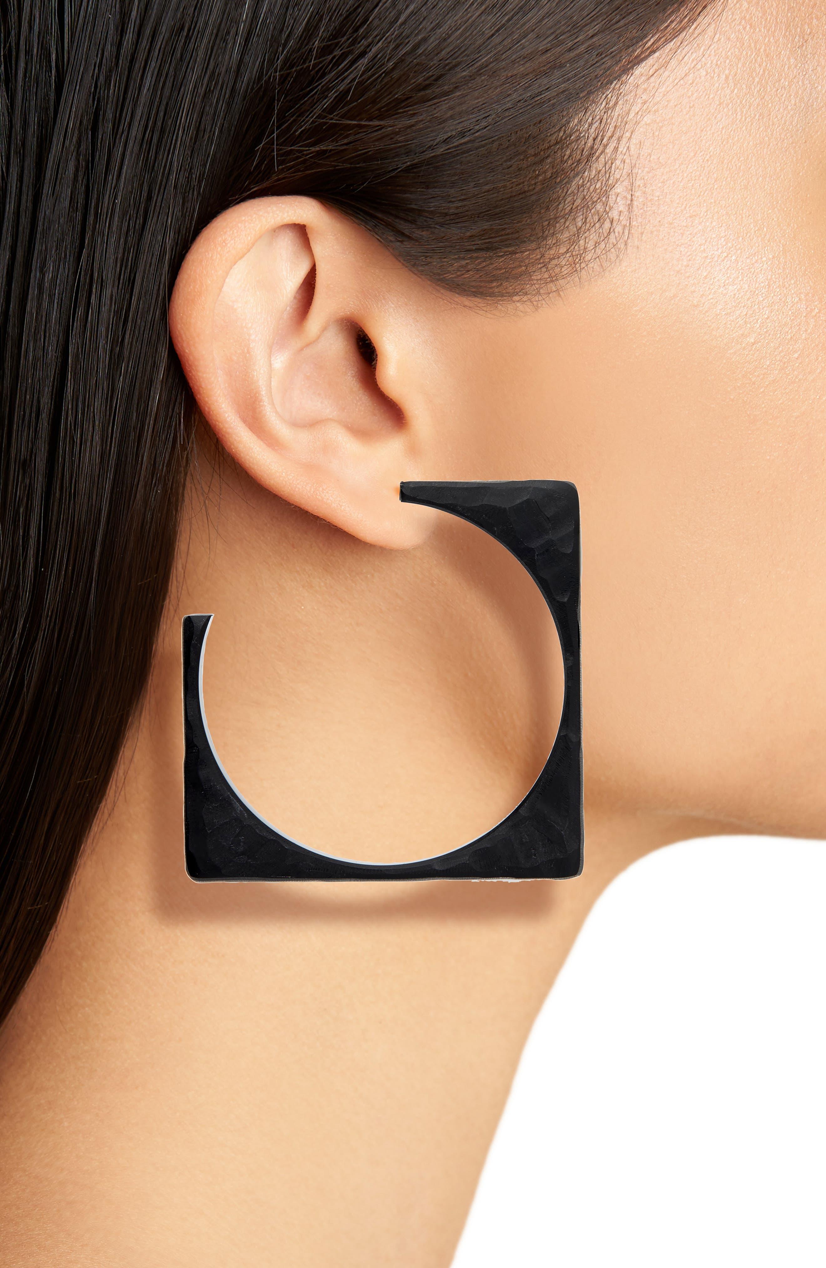 Tuck Hoop Earrings,                             Alternate thumbnail 2, color,                             BLACK