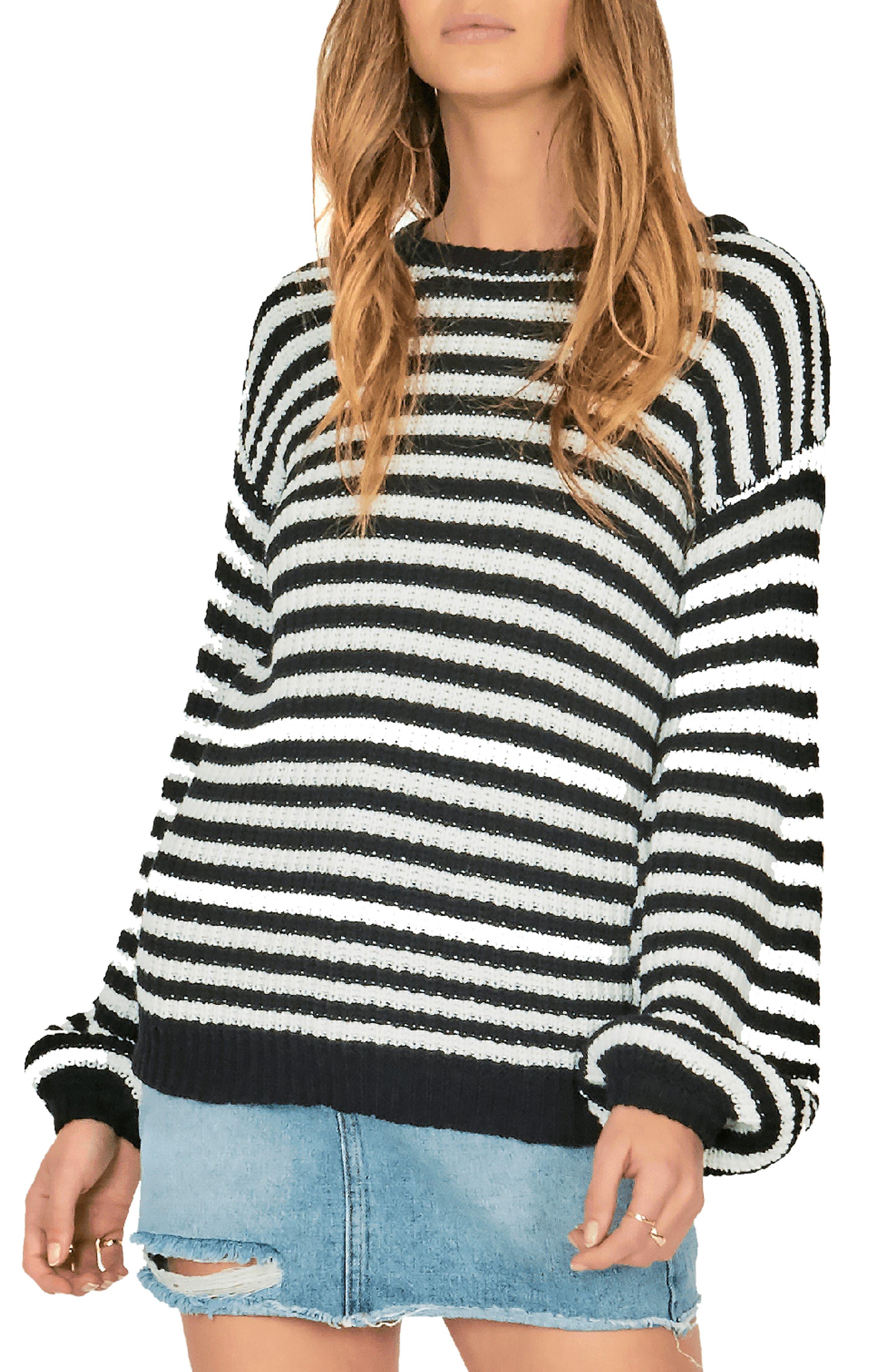 AMUSE SOCIETY Rodas Balloon Sleeve Sweater in Stripe