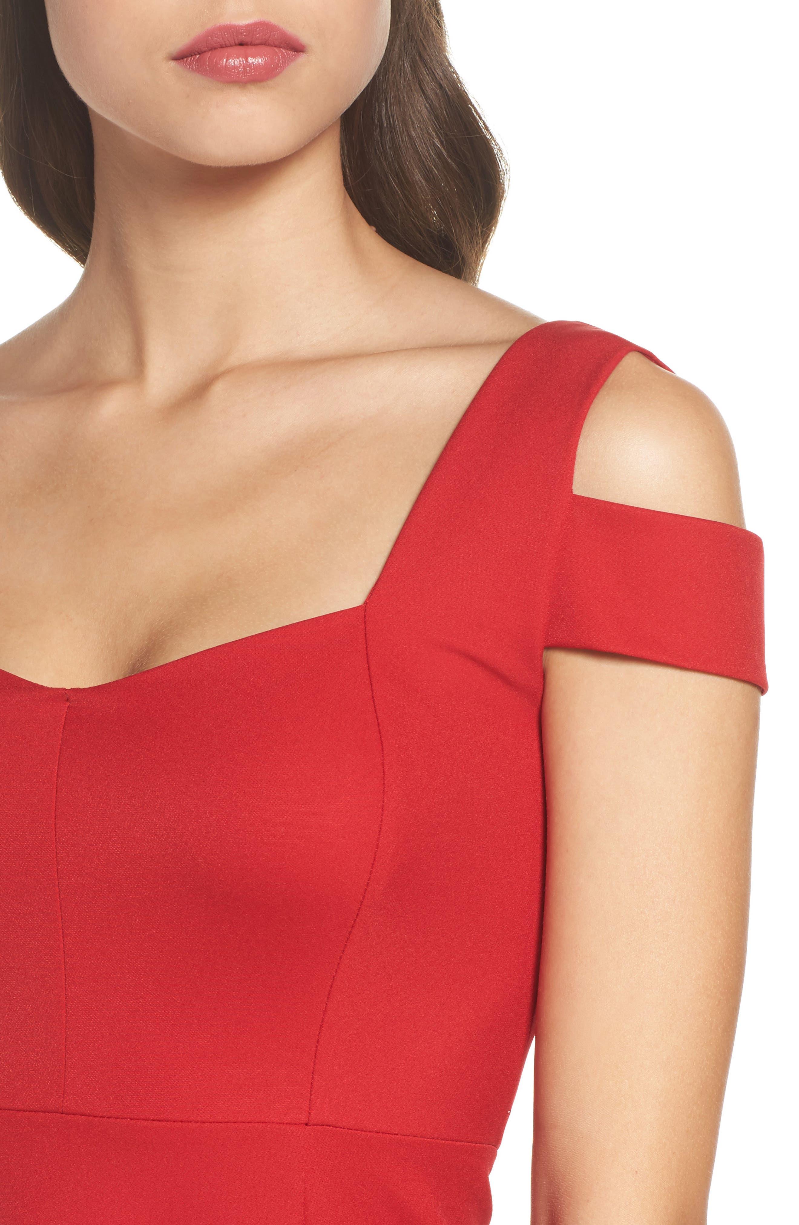 Pearl Cold Shoulder Fit & Flare Dress,                             Alternate thumbnail 4, color,                             600