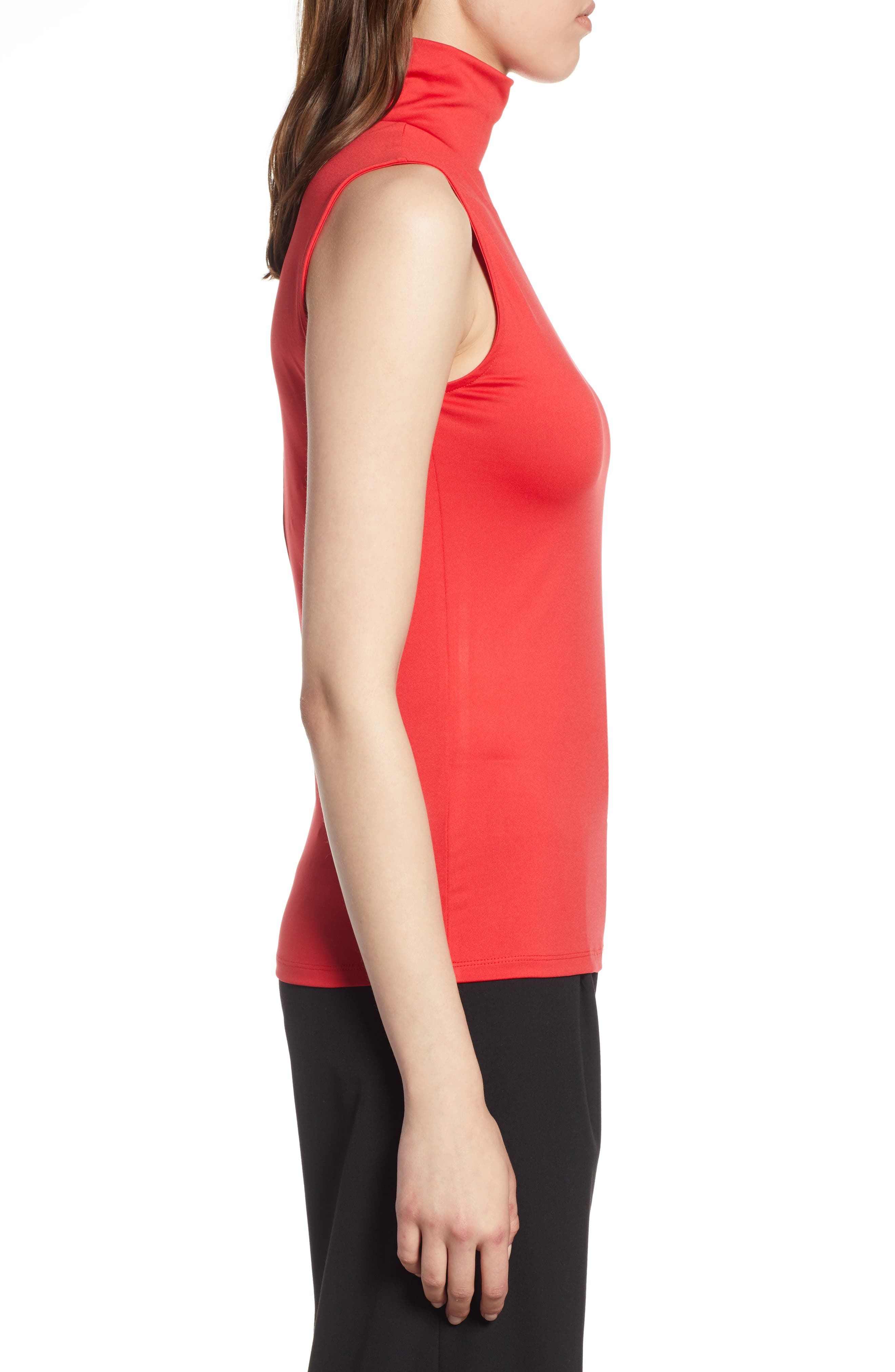 HALOGEN<SUP>®</SUP>,                             Mock Neck Shell Top,                             Alternate thumbnail 3, color,                             RED CHINOISE
