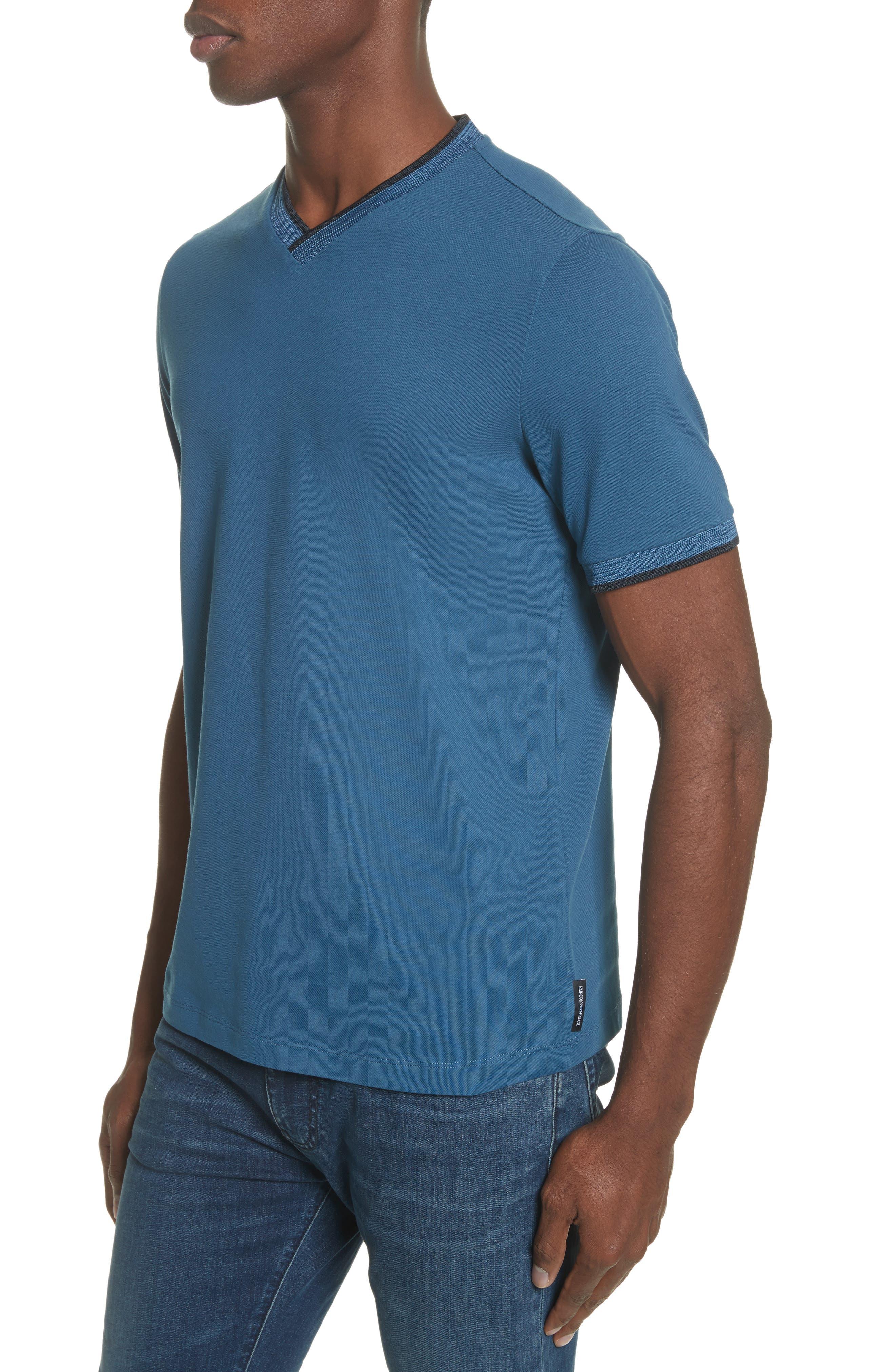 Slim Fit V-Neck Piqué T-Shirt,                             Alternate thumbnail 8, color,