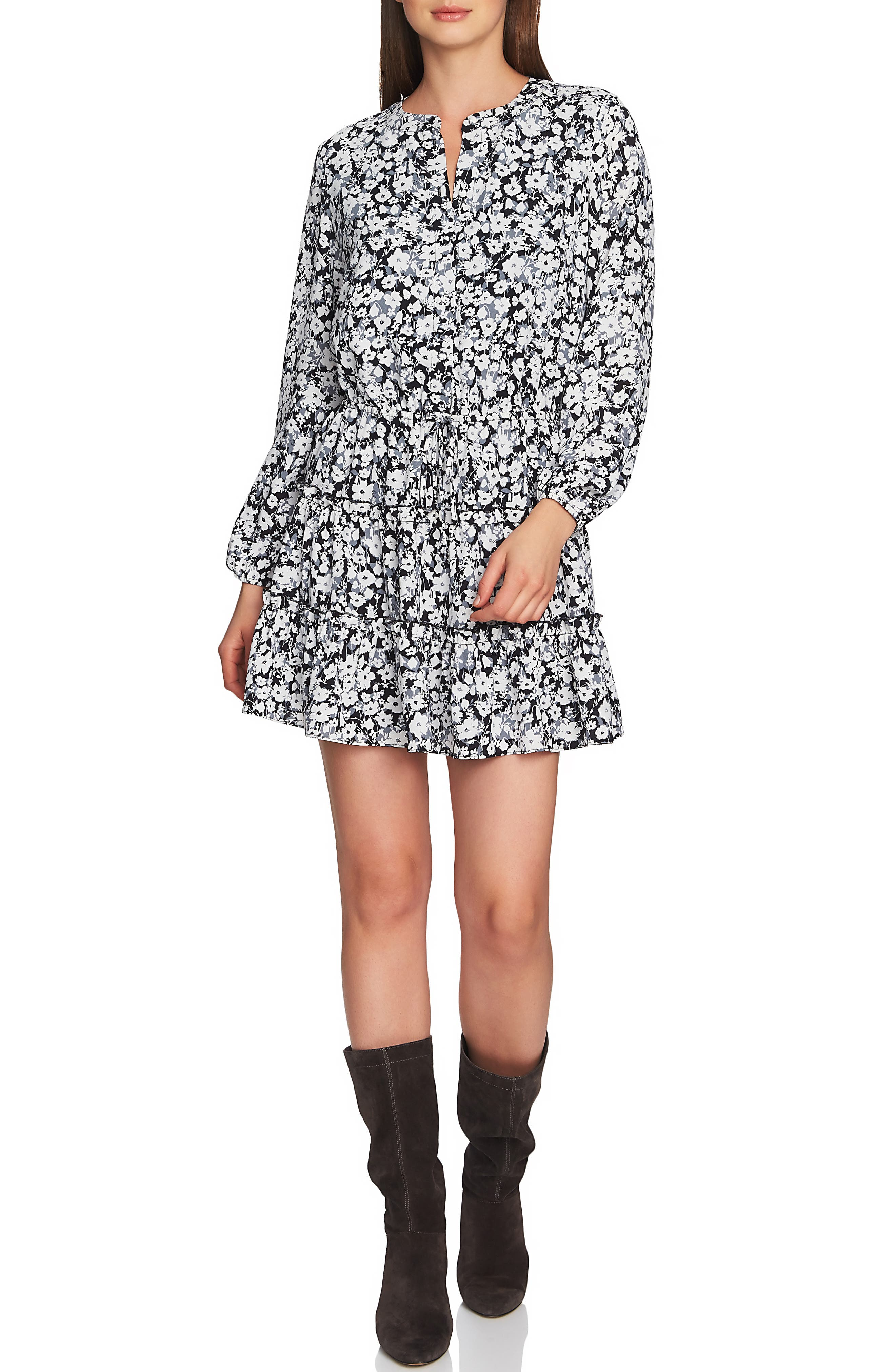 1.state Romantic Meadow Tiered Ruffle Dress, Black